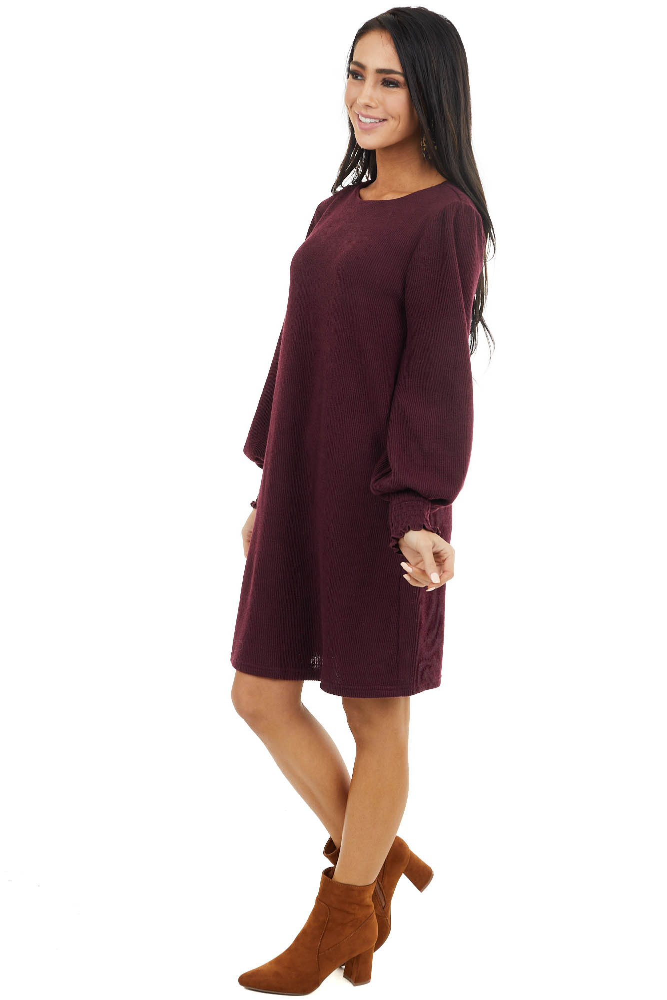 Wine Ribbed Knit Dress with Smocked Cuffs and Keyhole Back
