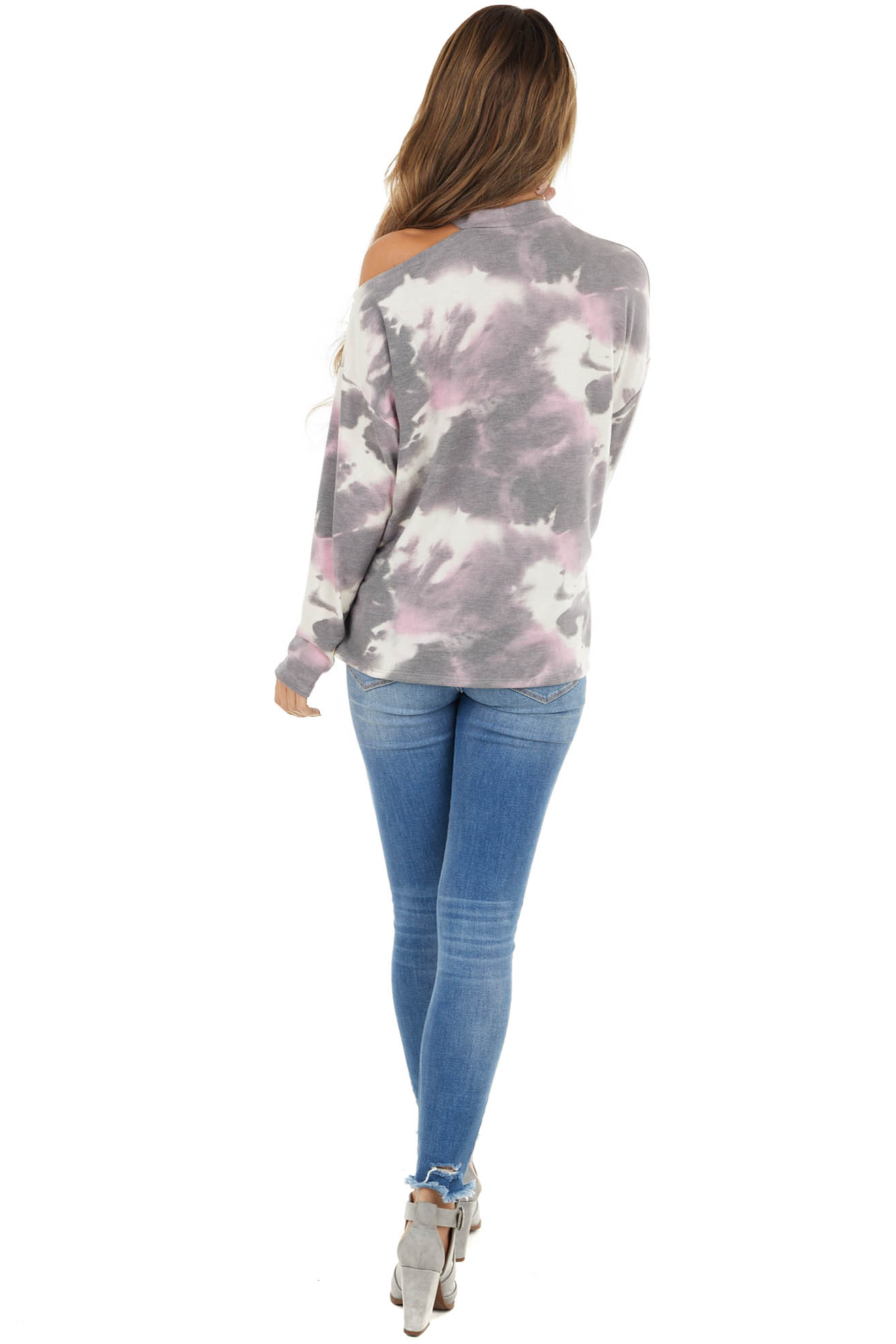 Taupe Tie Dye Print Long Sleeve Top with One Cold Shoulder