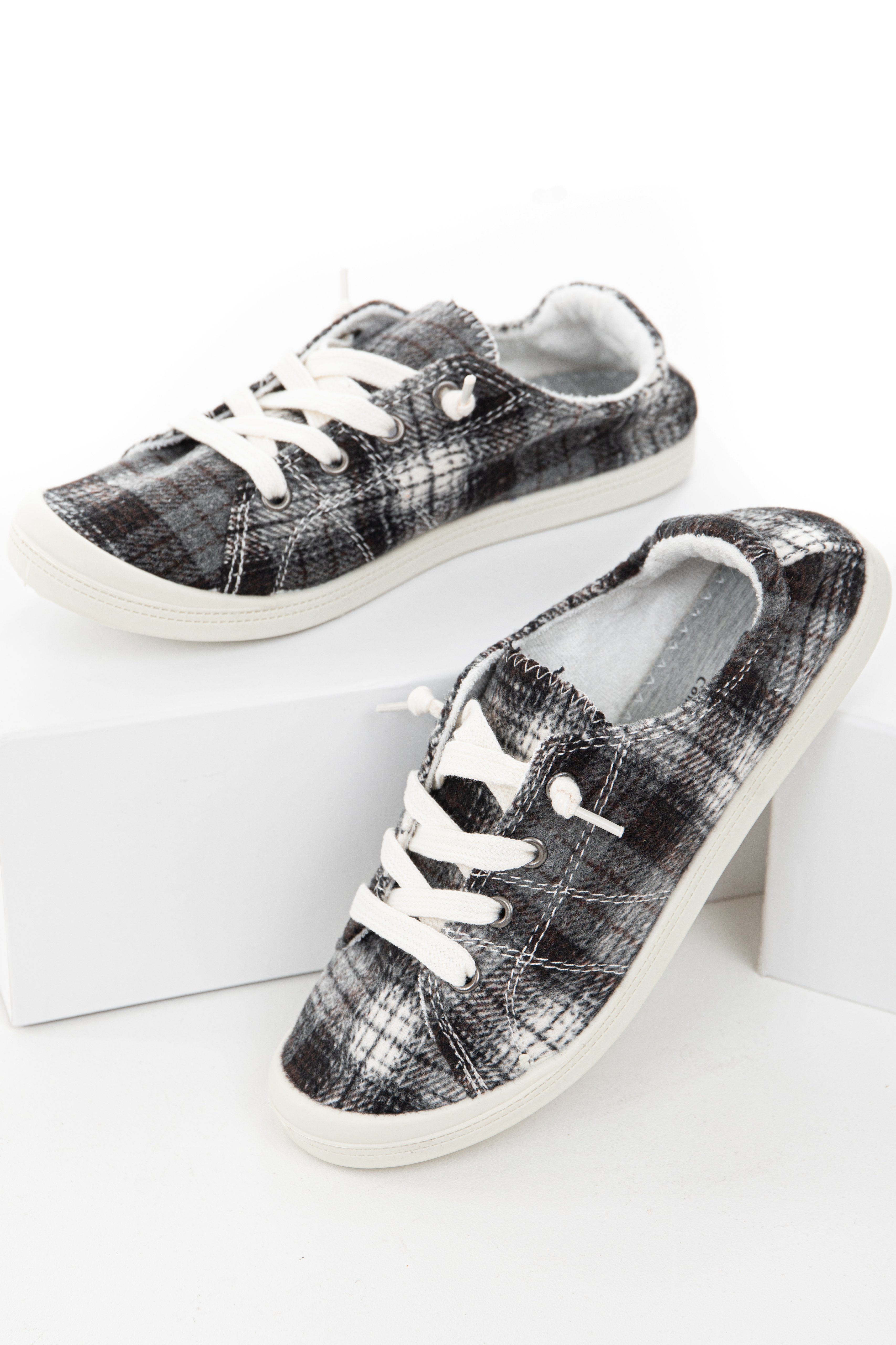 Charcoal and Black Plaid Sneakers with White Shoelaces
