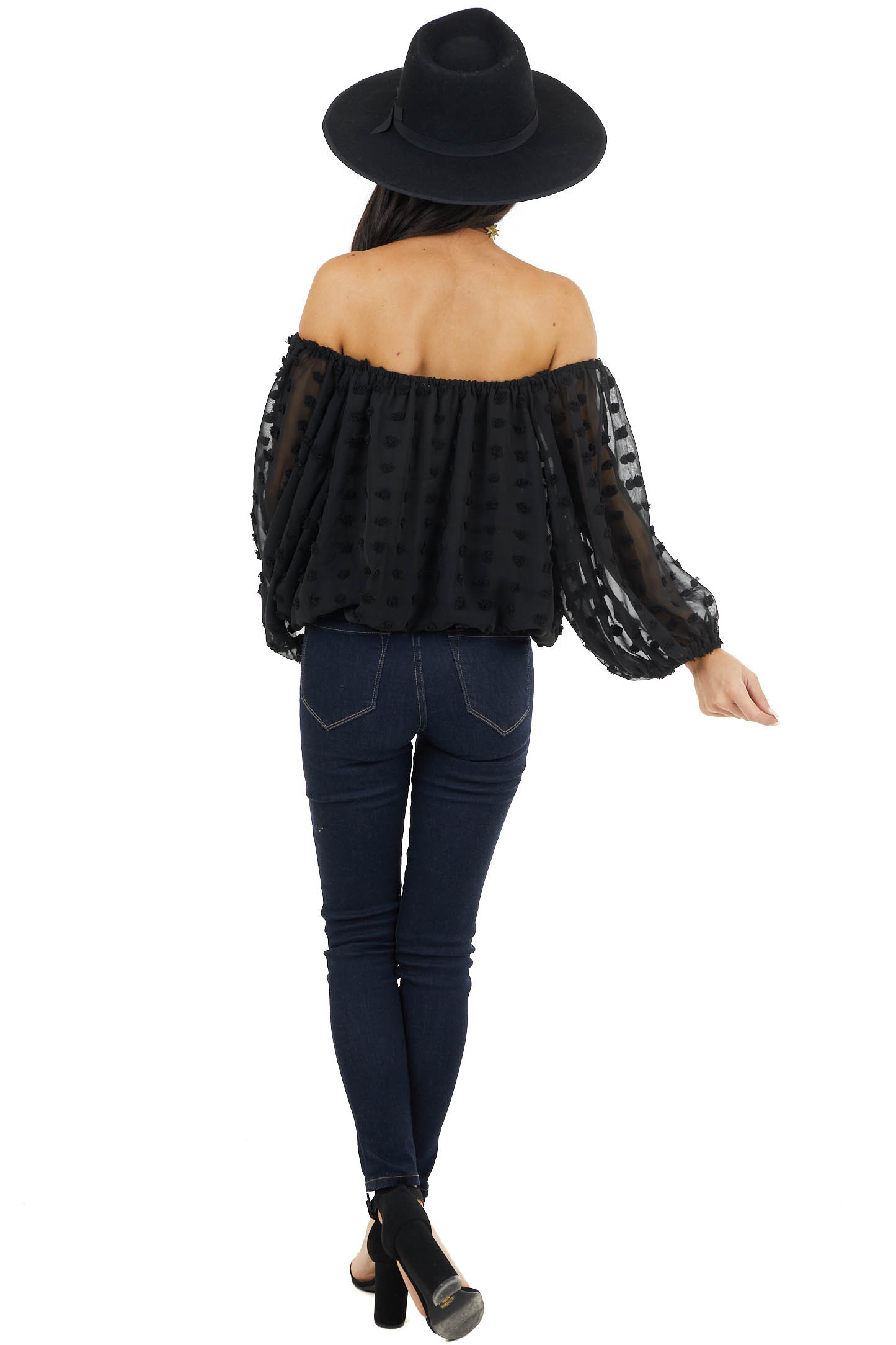 Black Off Shoulder Swiss Dot Crop Top with Puff Sleeves