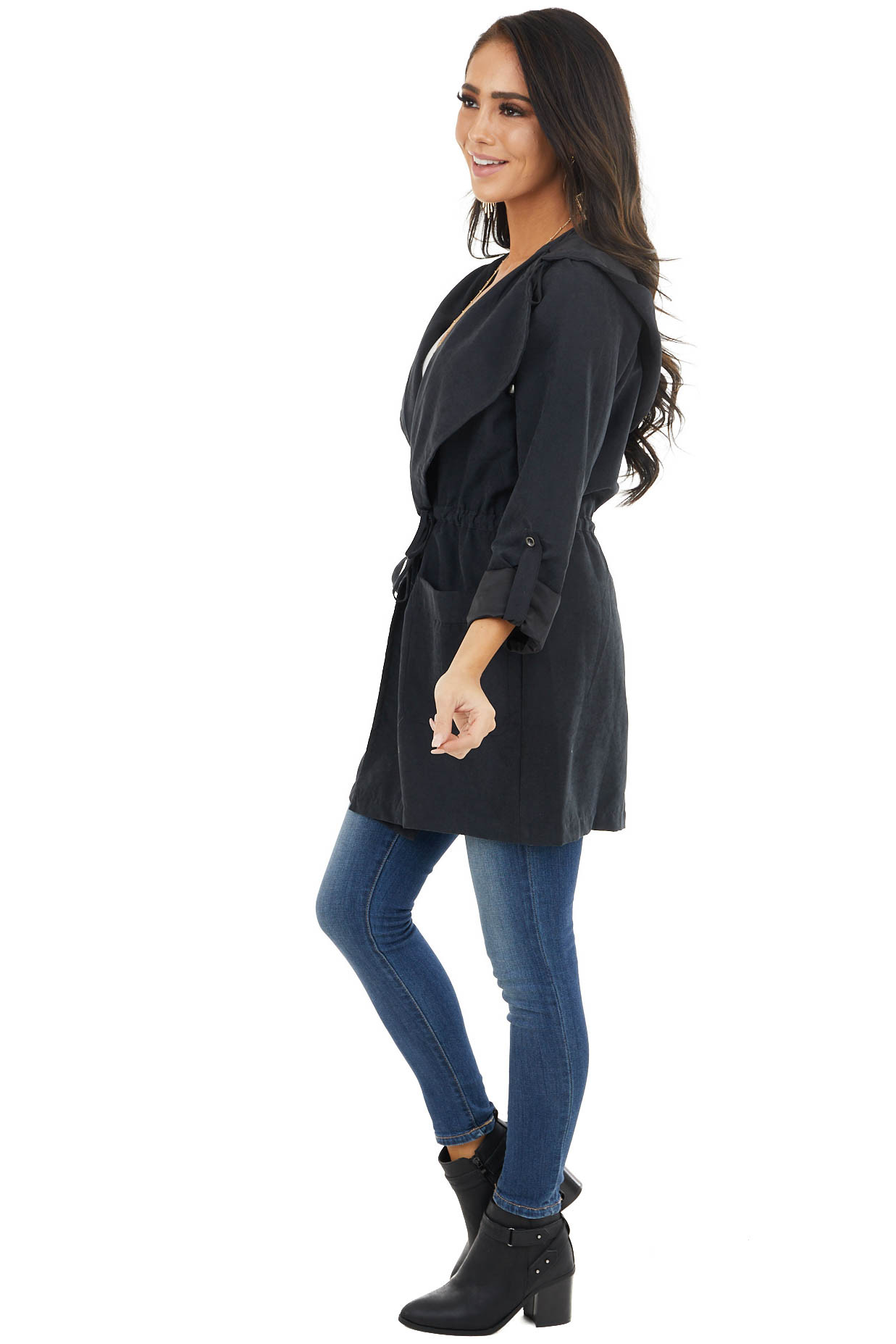 Black Hooded Faux Suede Long Jacket with Pockets