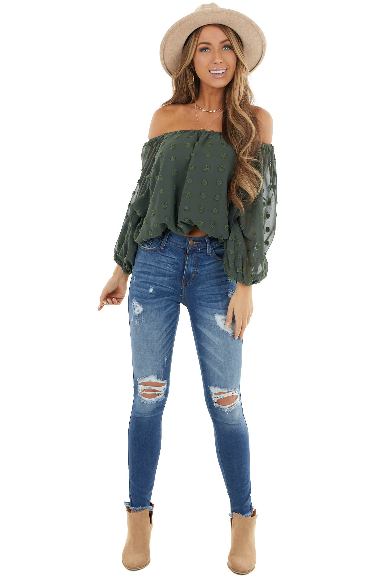 Dark Green Off Shoulder Swiss Dot Crop Top with Puff Sleeves