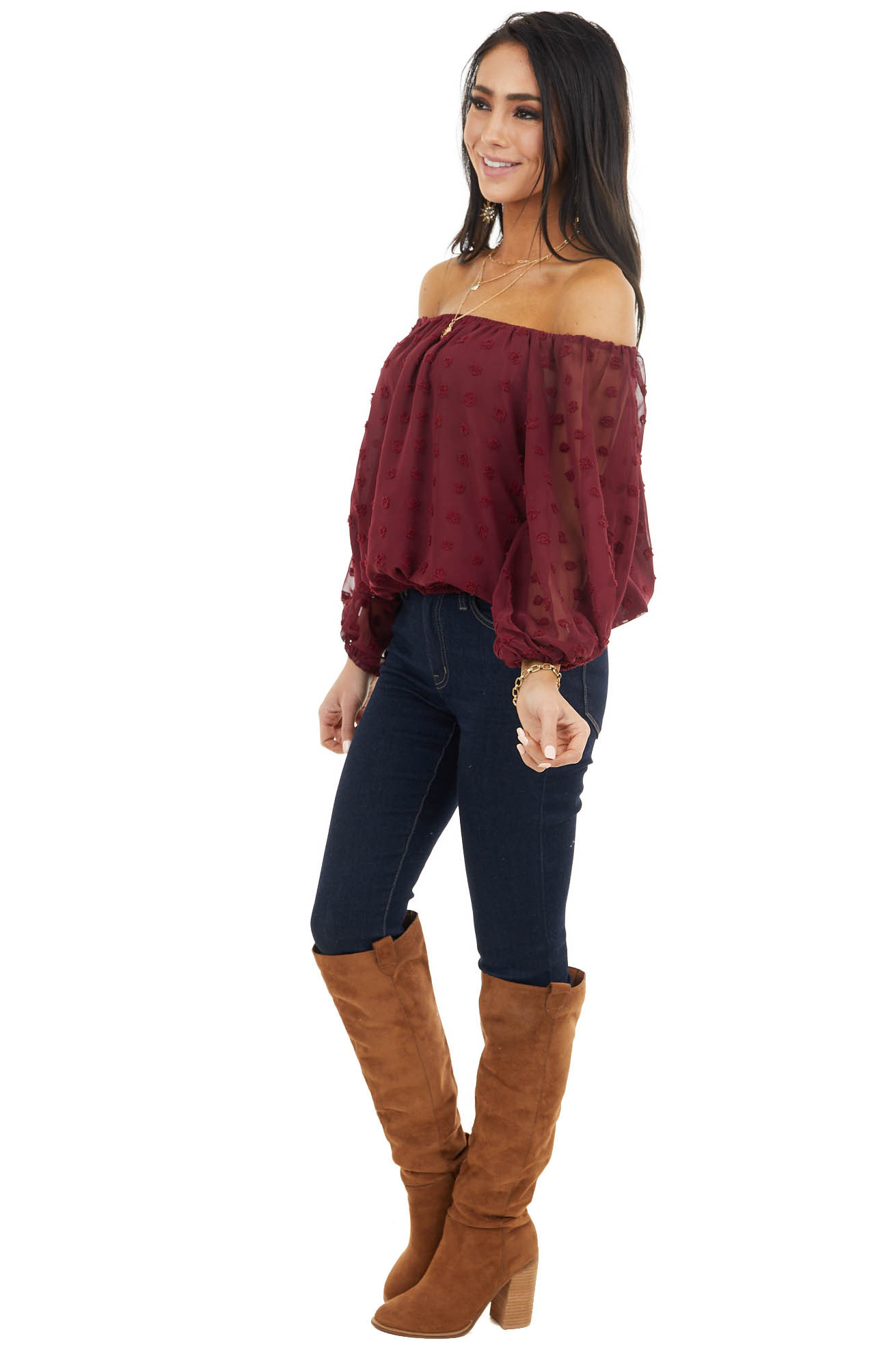 Wine Off Shoulder Swiss Dot Crop Top with Puff Sleeves