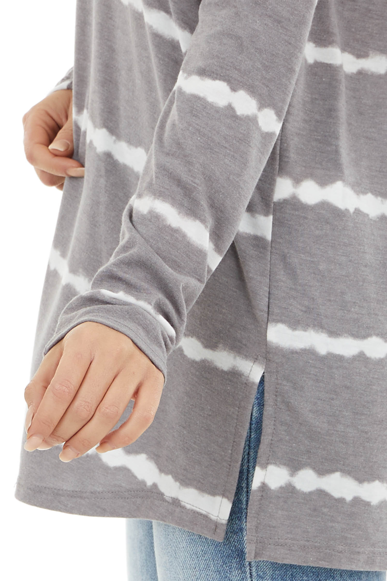 Stone Grey Tie Dye Striped Long Sleeve Top with V Neck