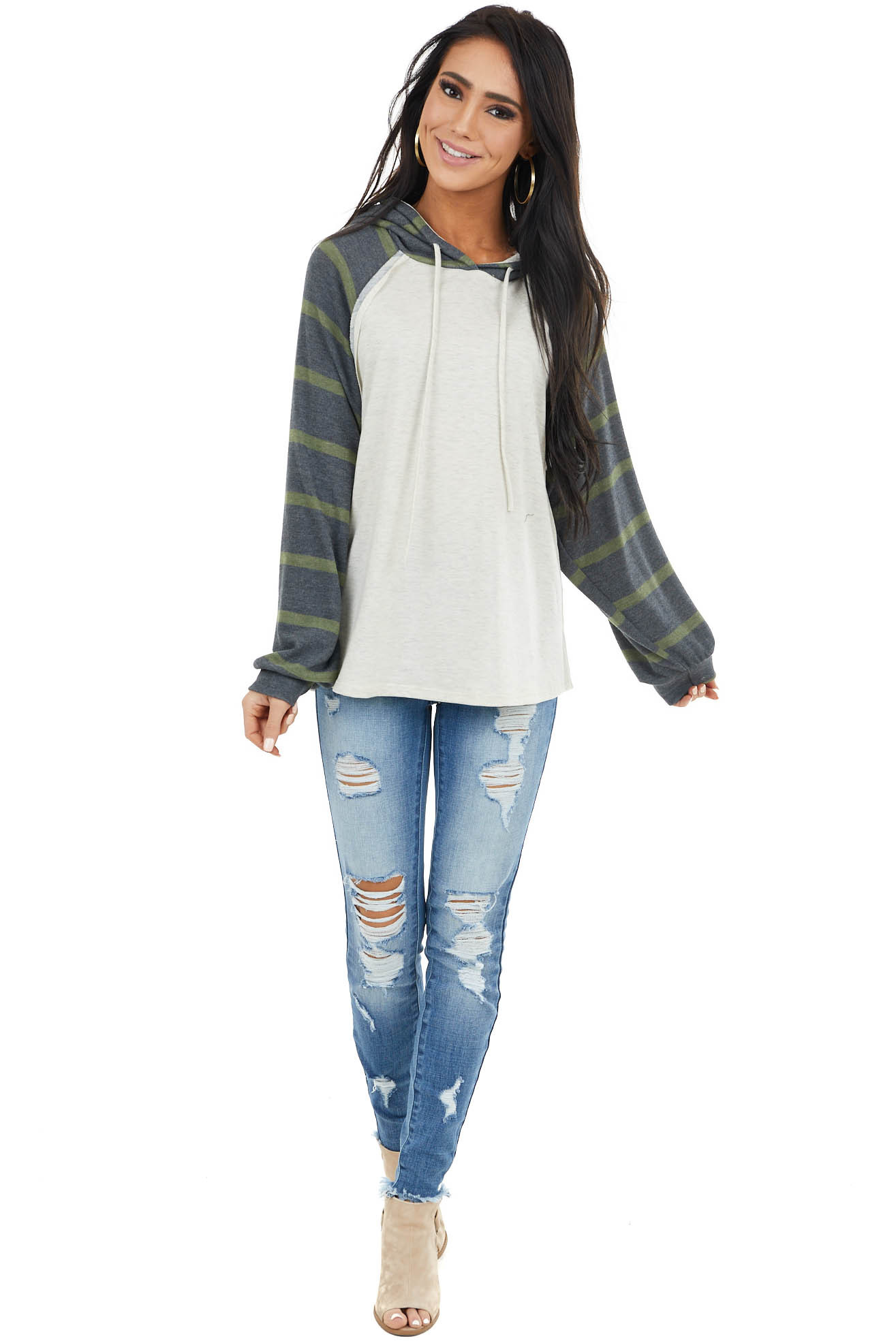 Cream Striped Long Sleeve Hoodie with Drawstring Detail