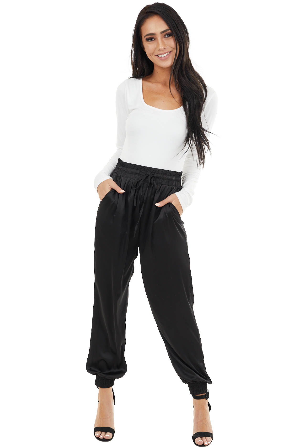 Black Satin Woven Joggers with Elastic Waist and Pockets