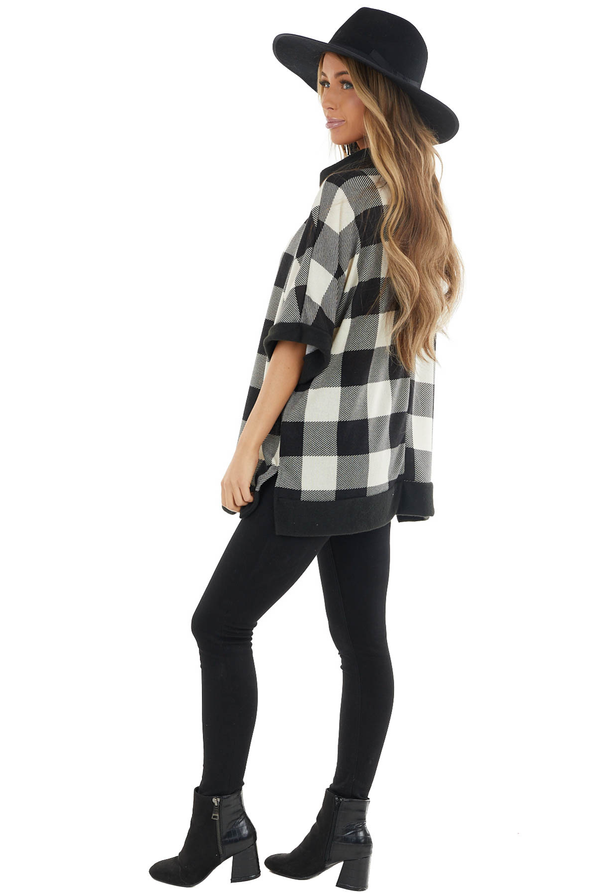 Ivory and Black Buffalo Plaid Oversized Top with Cowl Neck