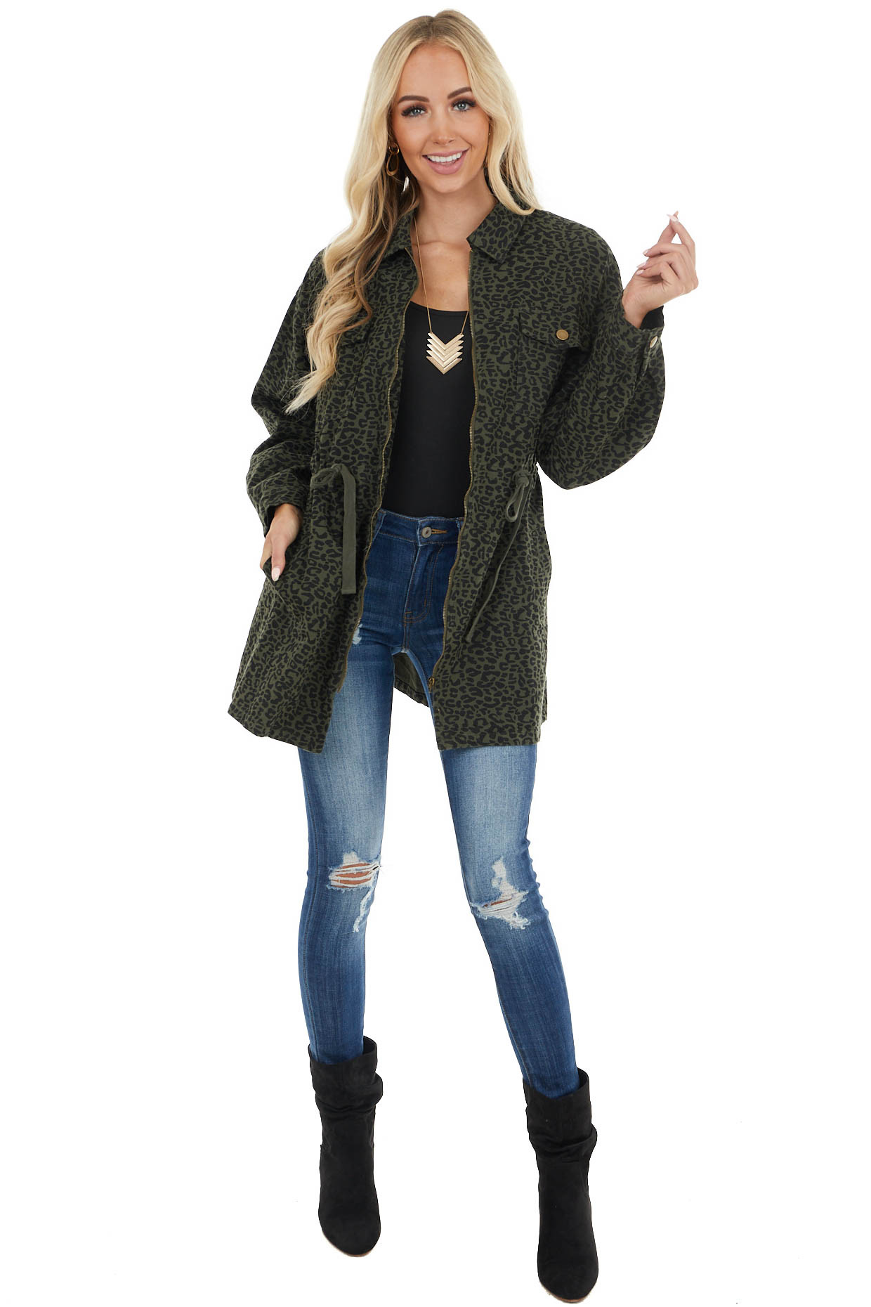 Olive and Black Leopard Print Jacket with Drawstring Waist