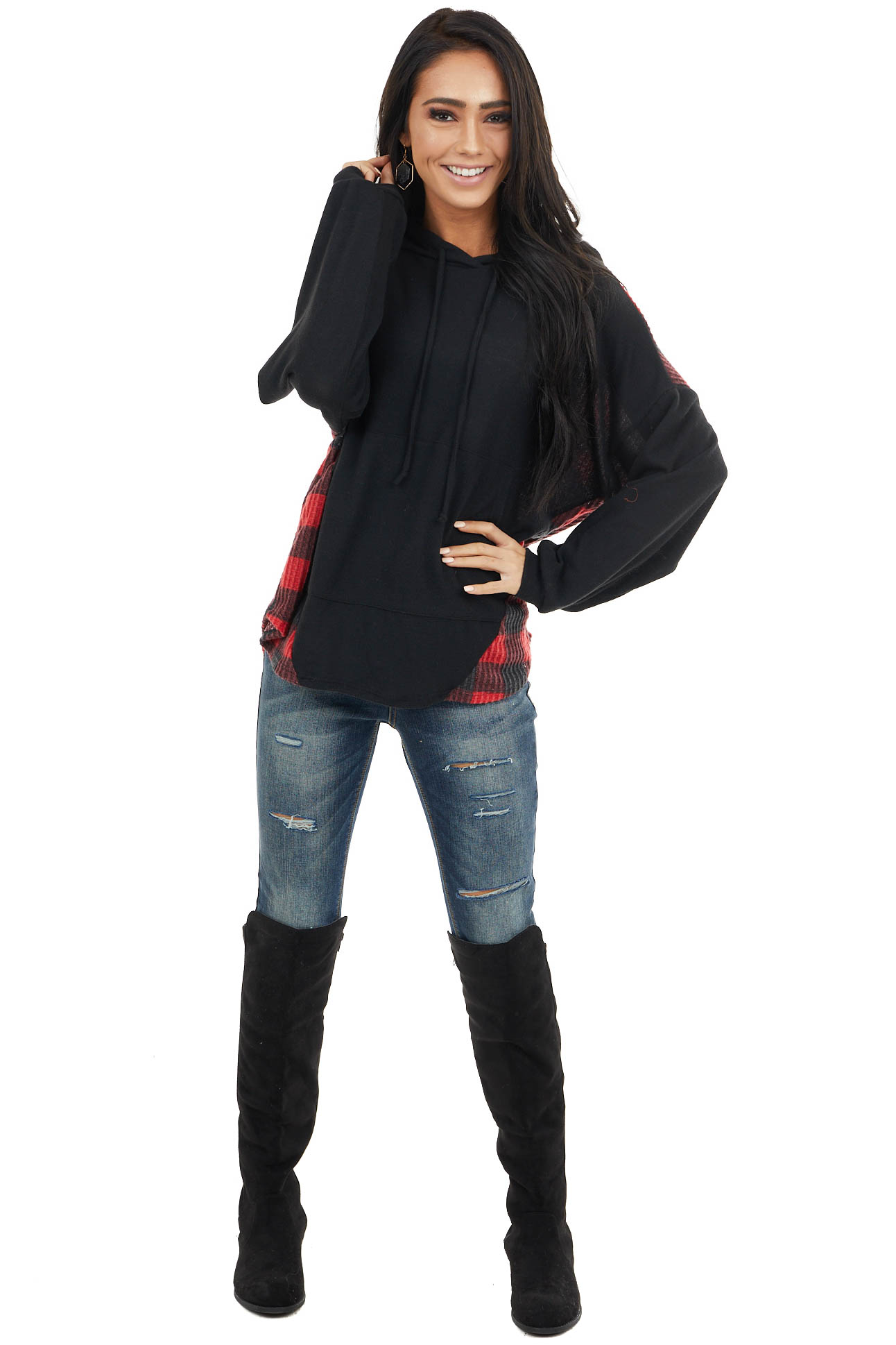 Ruby and Black Buffalo Plaid Hoodie with Working Tie detail