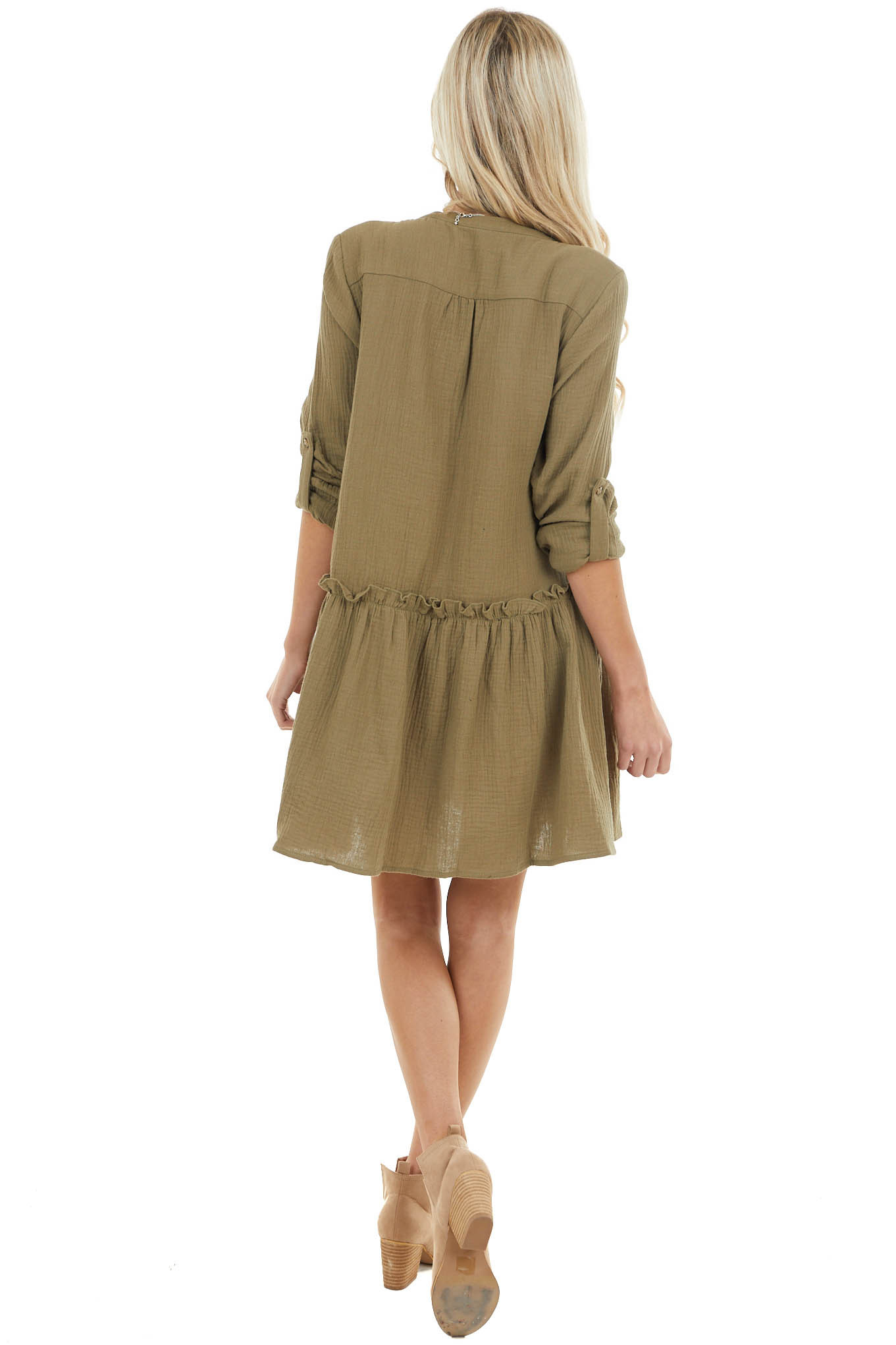 Olive Button Down Peplum Mini Dress with Chest Pockets