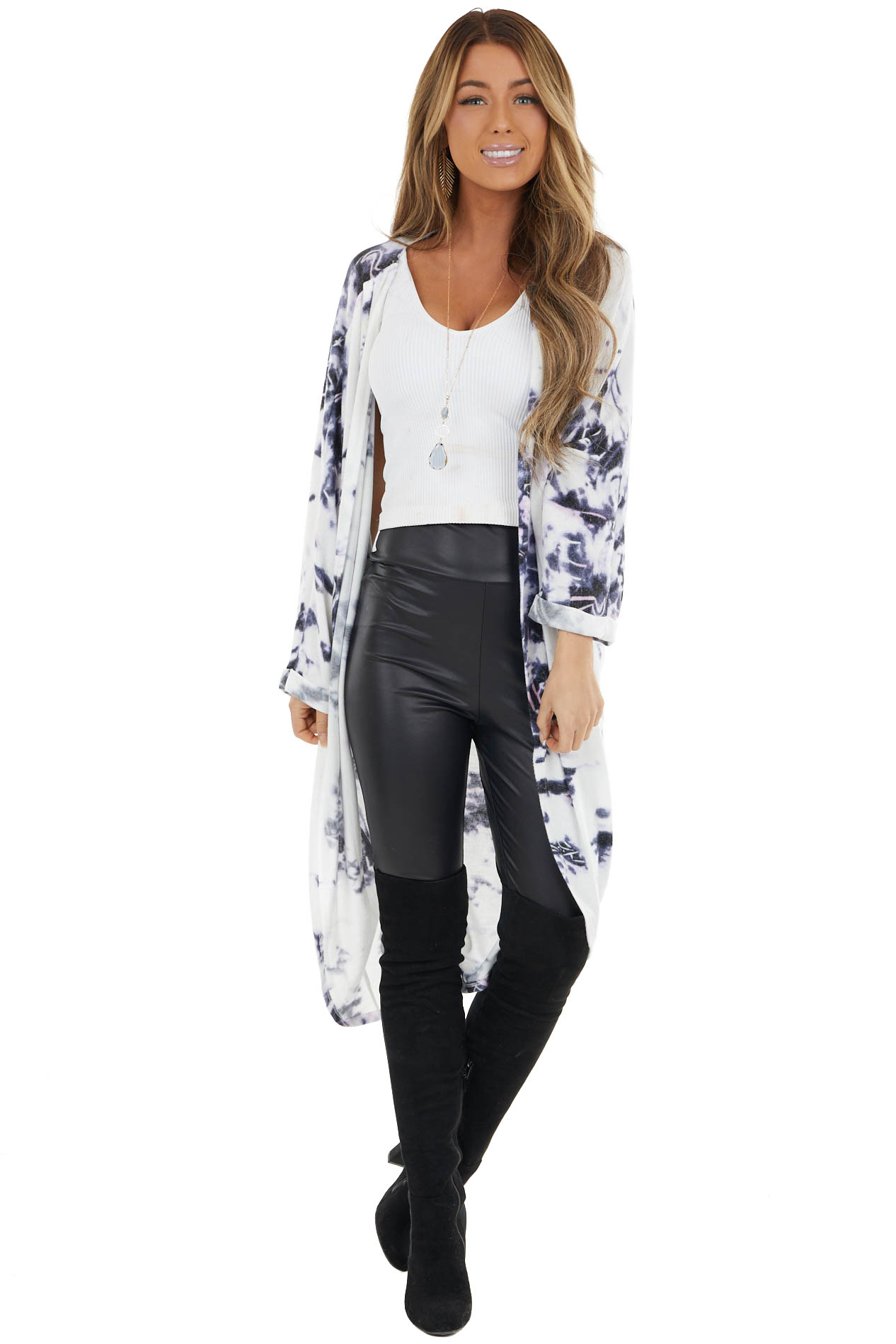 Violet and Ivory Open Front Long Sleeve Tie Dye Cardigan