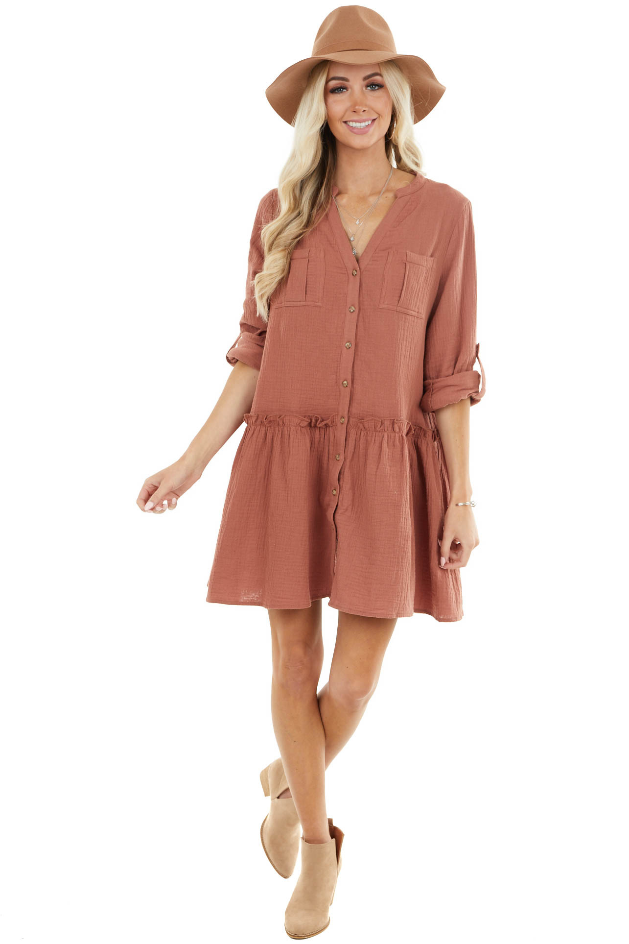 Sienna Button Down Peplum Mini Dress with Chest Pockets