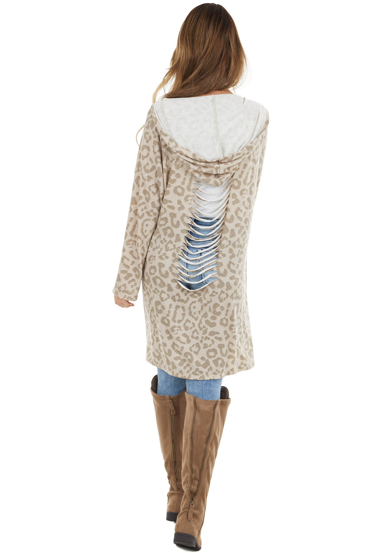 Latte and Taupe Leopard Print Open Front Cardigan with Hood