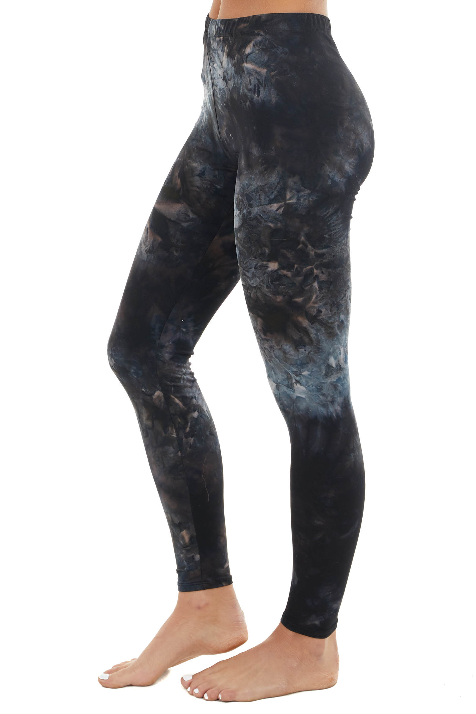 Black and Navy Tie Dye Print Lightweight Knit Leggings