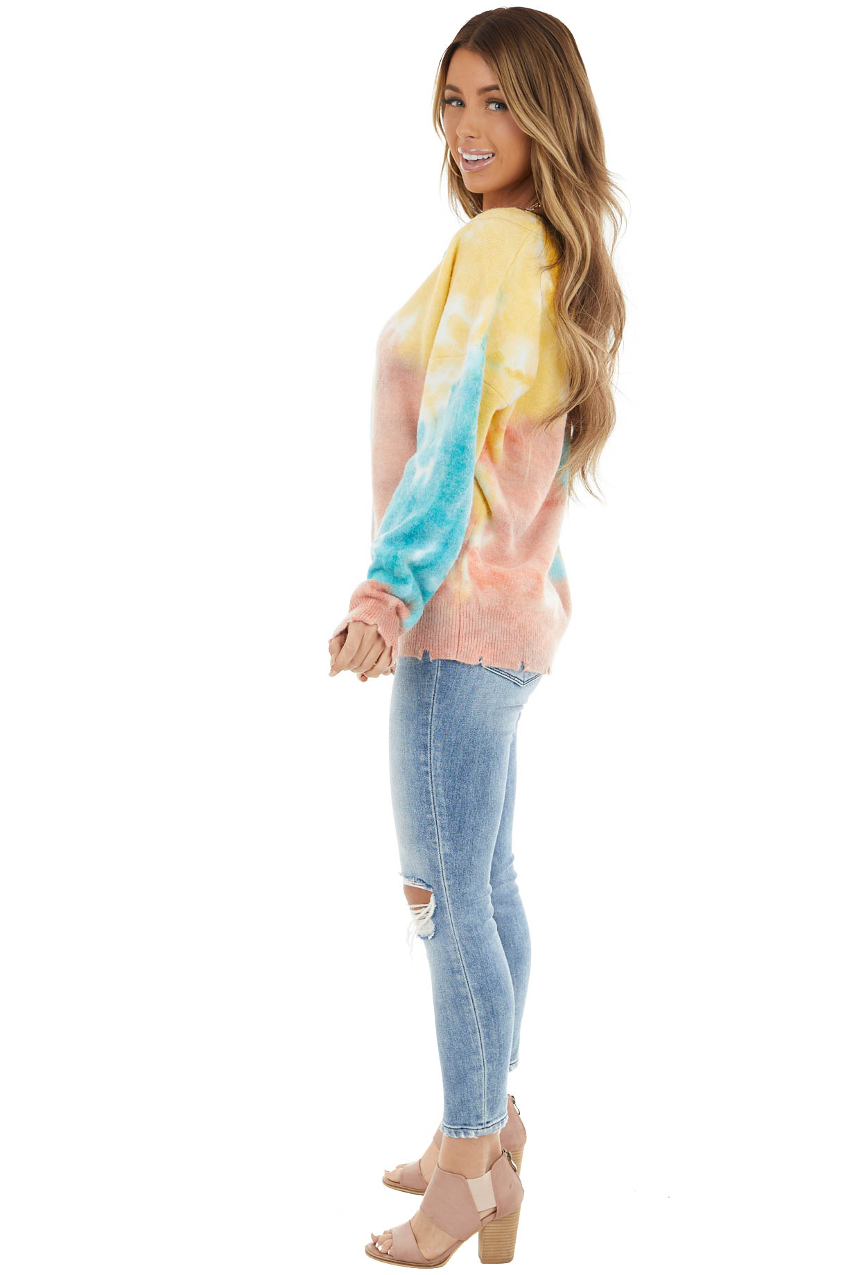Multicolor Tie Dye Sweater With Distressed Details