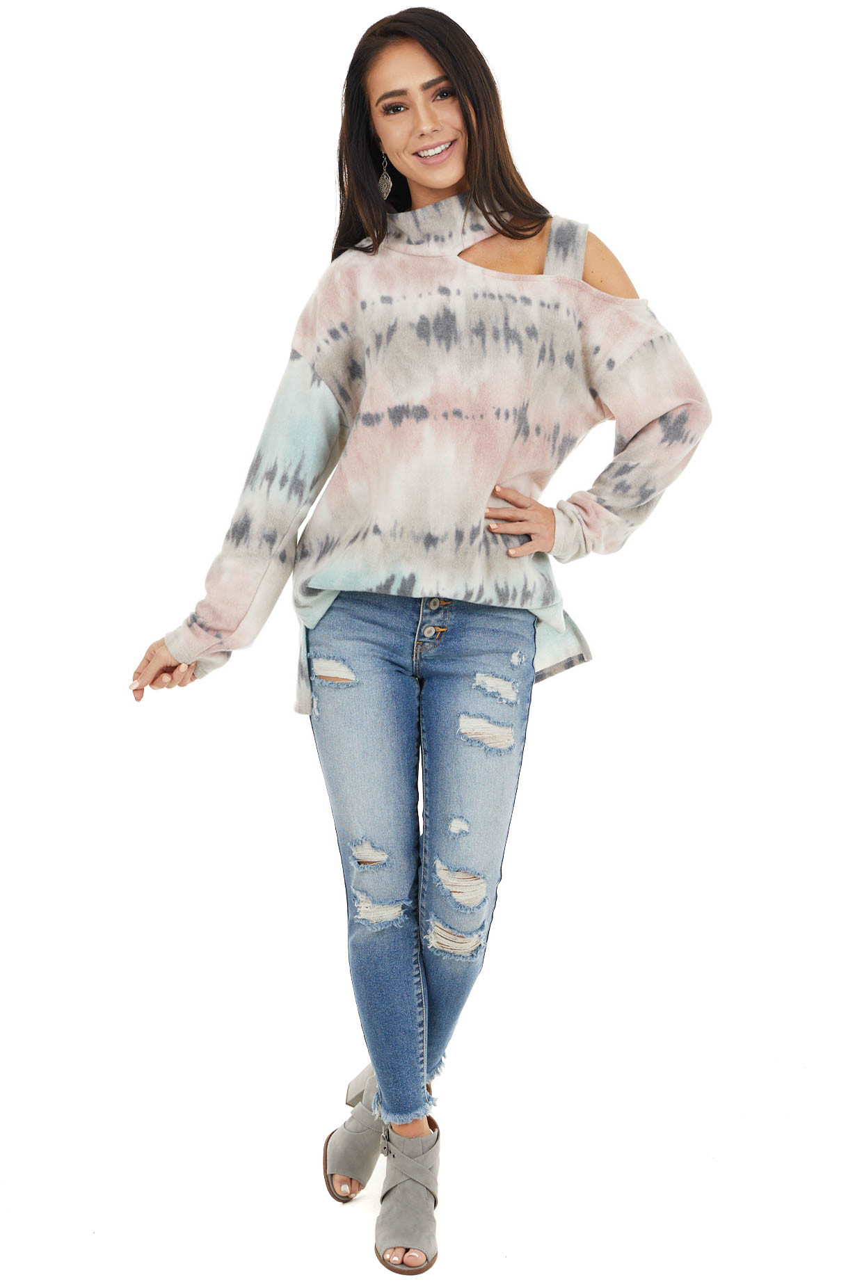 Salmon and Teal Tie Dye Long Sleeve Top with High Neckline
