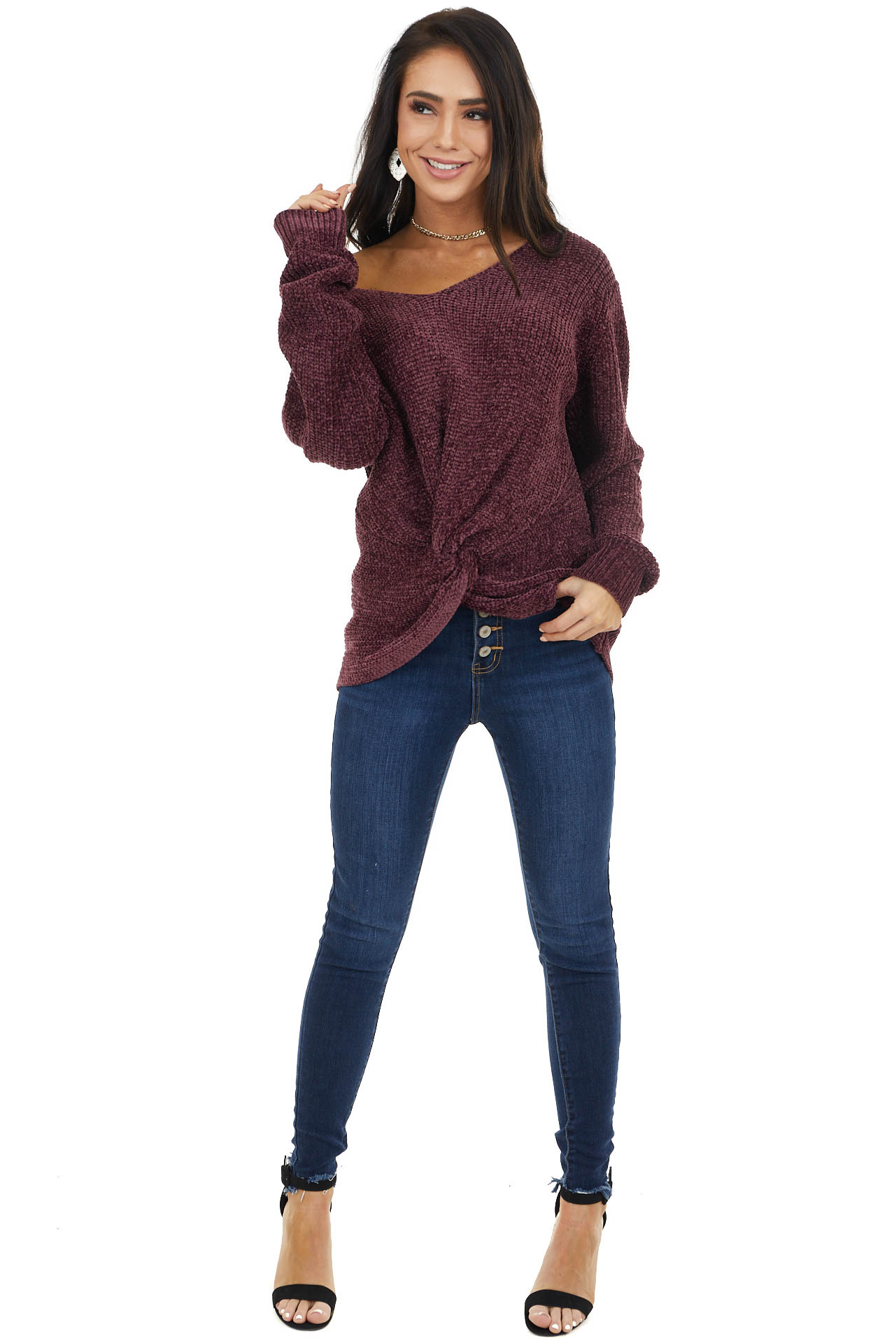 Plum Chenille Pullover Sweater with Front Twist Detail