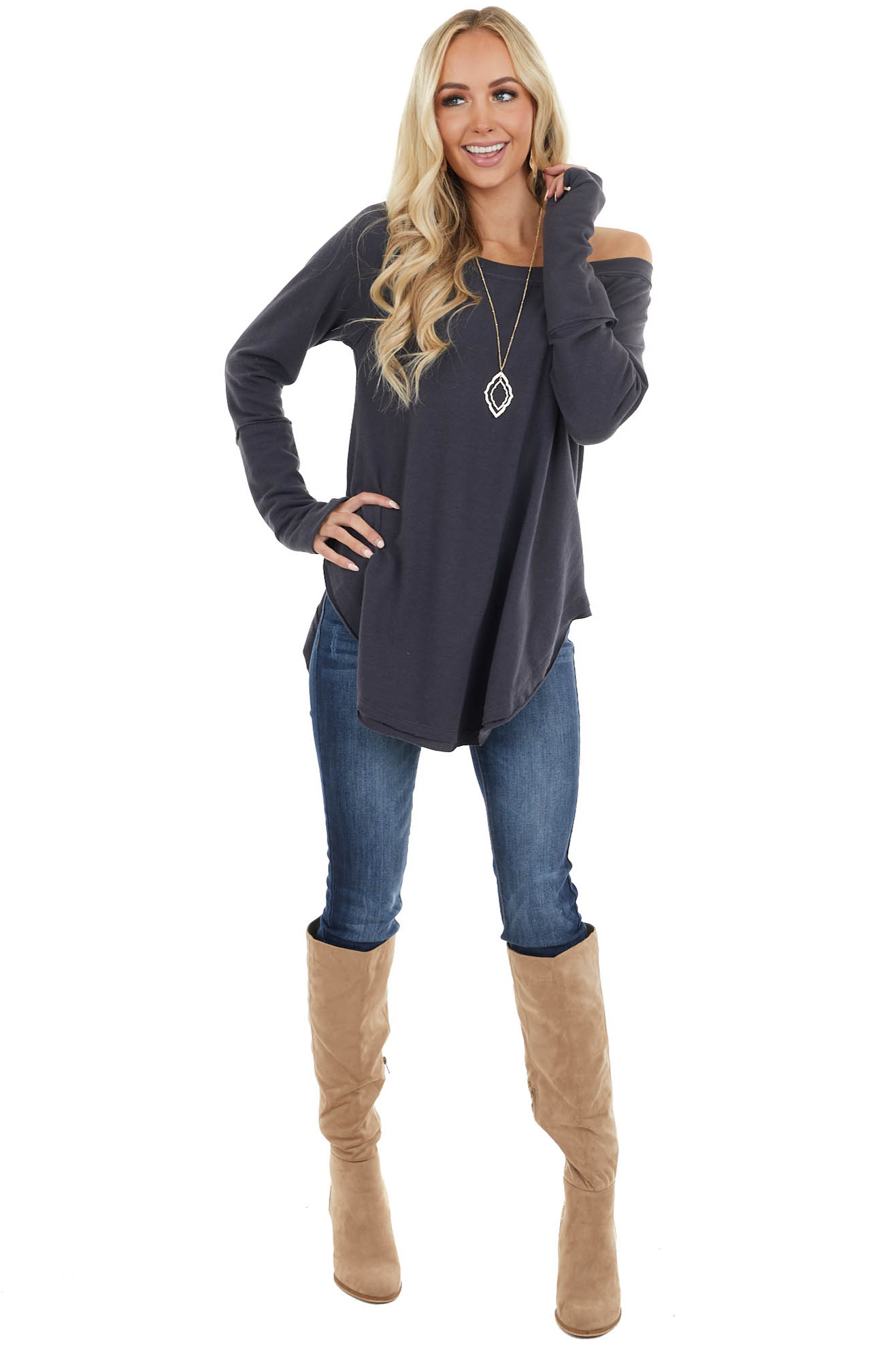 Navy Stretchy Knit Top with Raw Edges and Thumb Holes