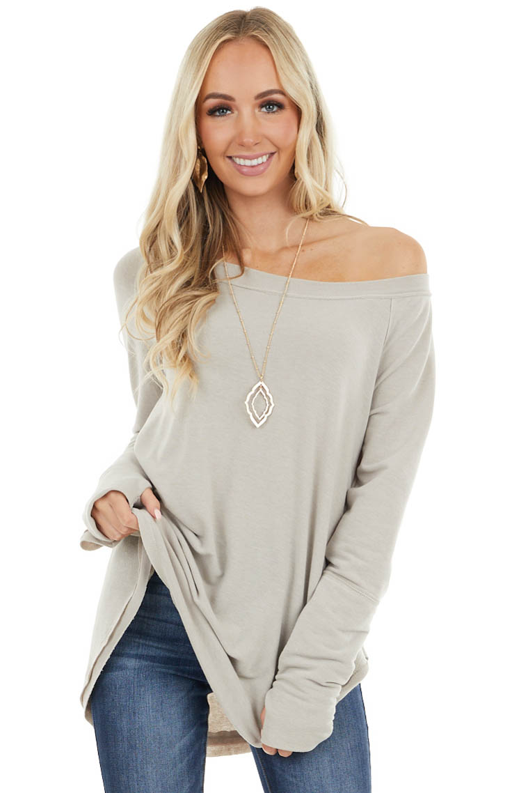 Oatmeal Stretchy Knit Top with Raw Edges and Thumb Holes