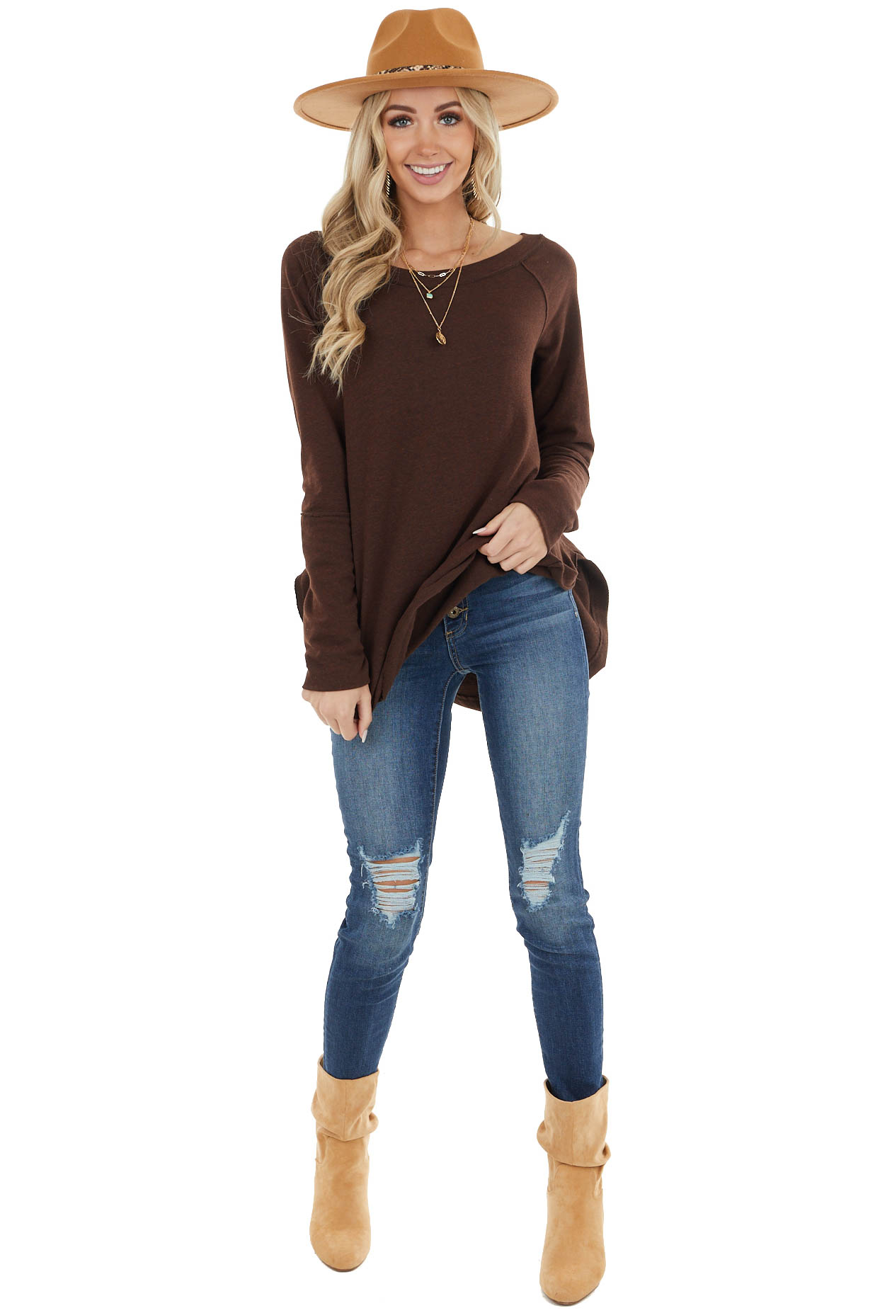 Chocolate Stretchy Knit Top with Raw Edges and Thumb Holes