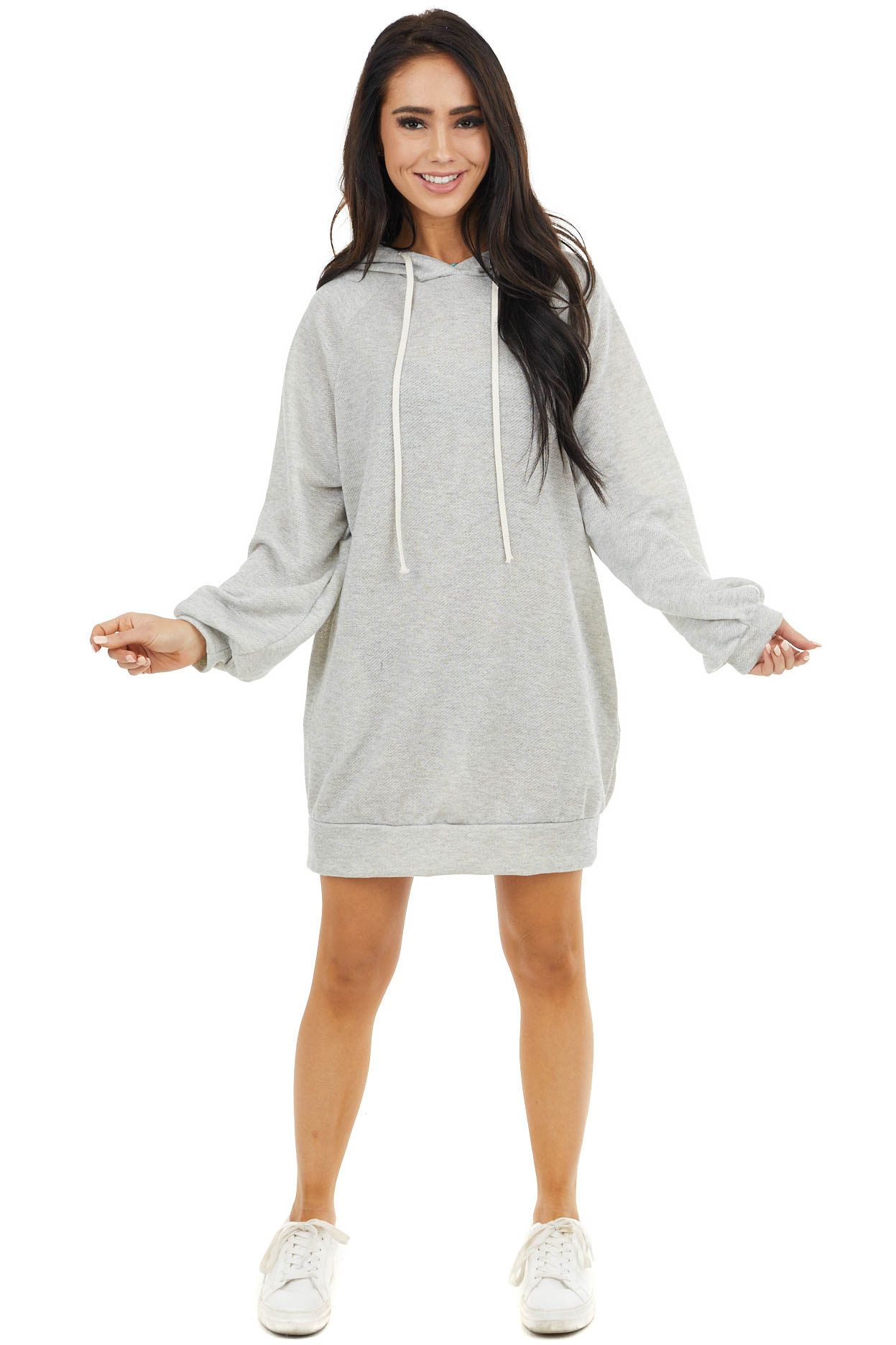 Heather Grey Hooded Dress with Long Bubble Sleeves
