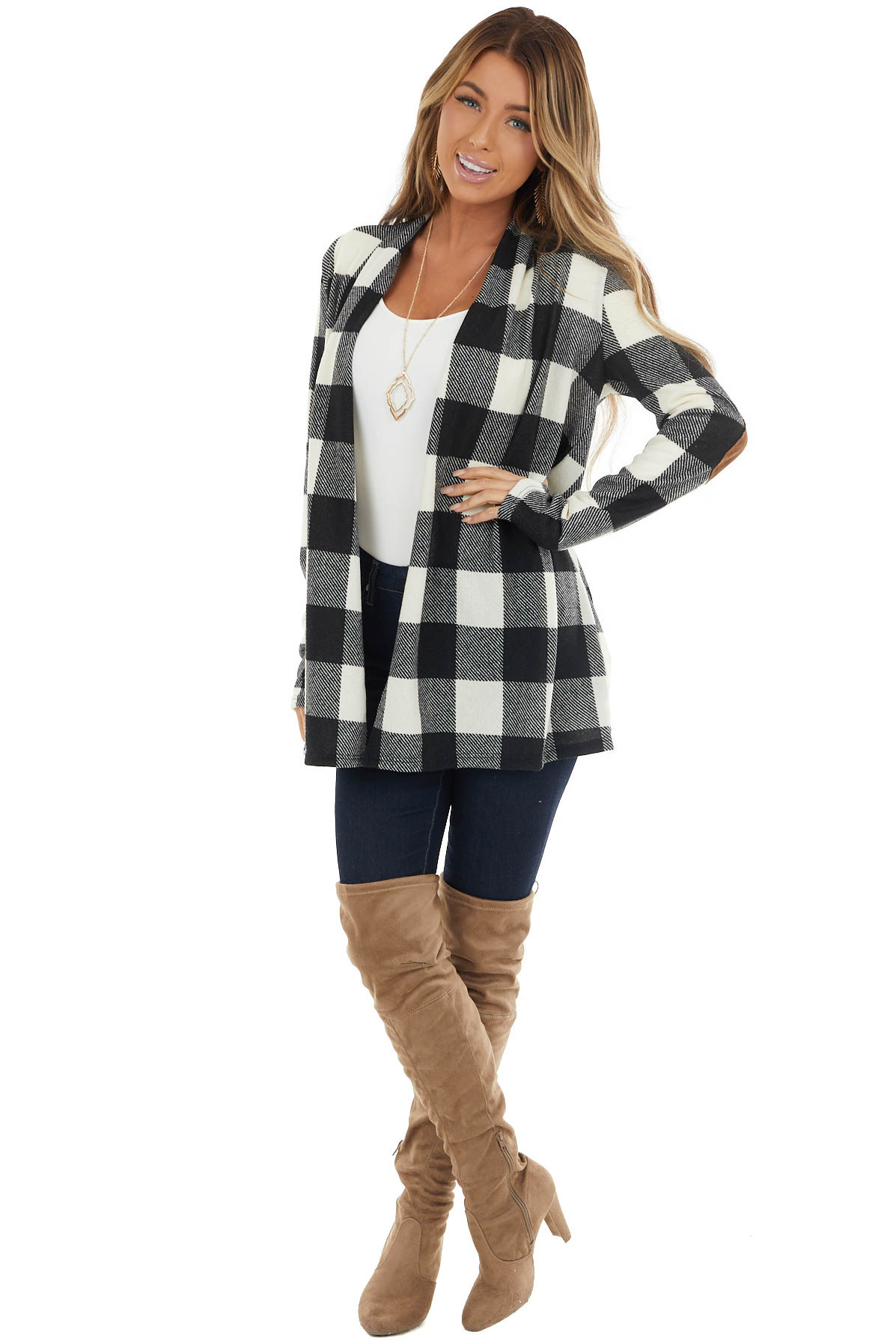 Ivory and Black Buffalo Plaid Cardigan with Elbow Patches