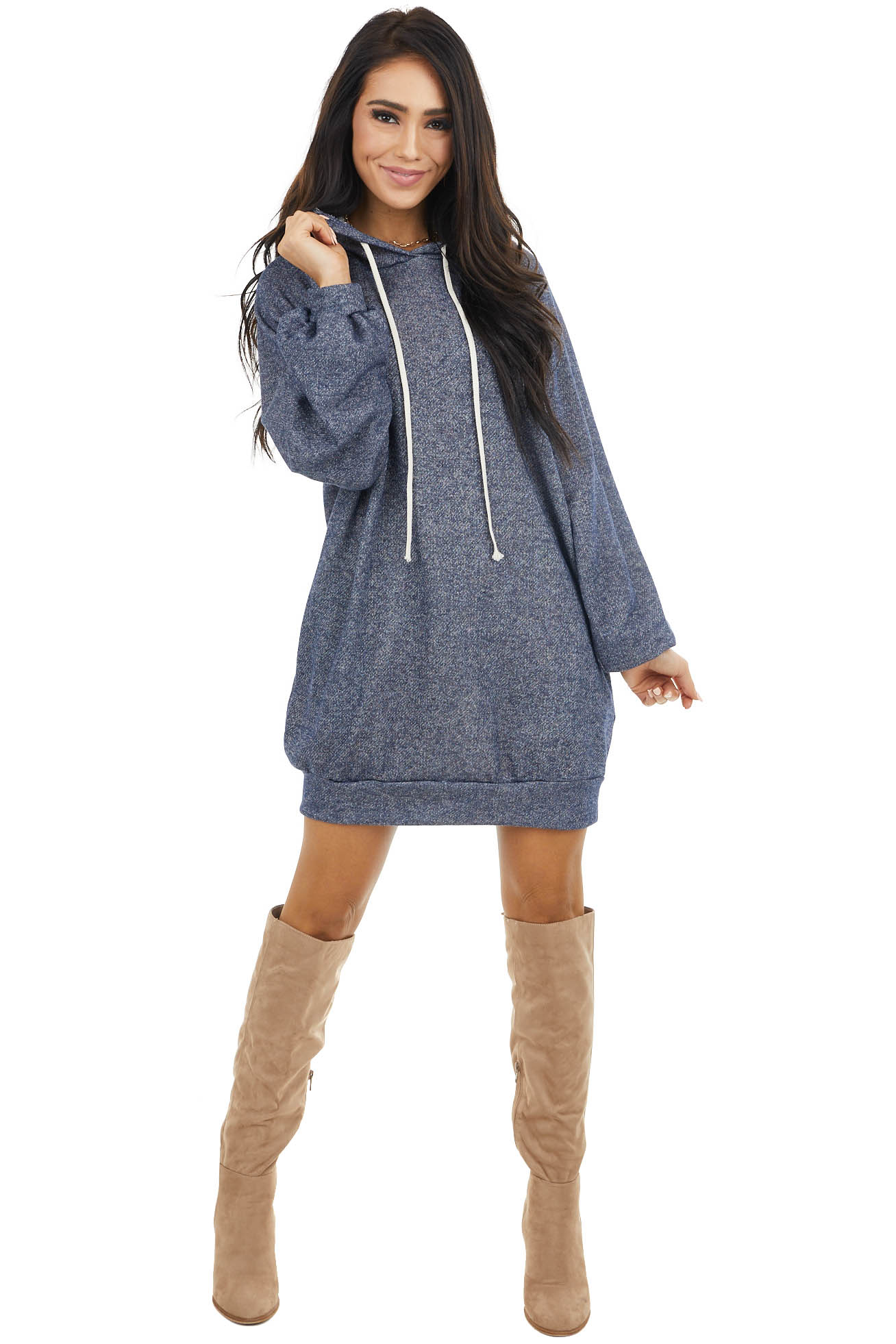 Navy Two Toned Hooded Dress with Long Bubble Sleeves