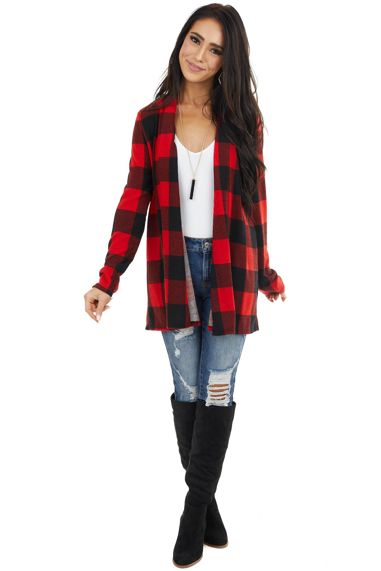 Crimson and Black Buffalo Plaid Cardigan with Elbow Patches