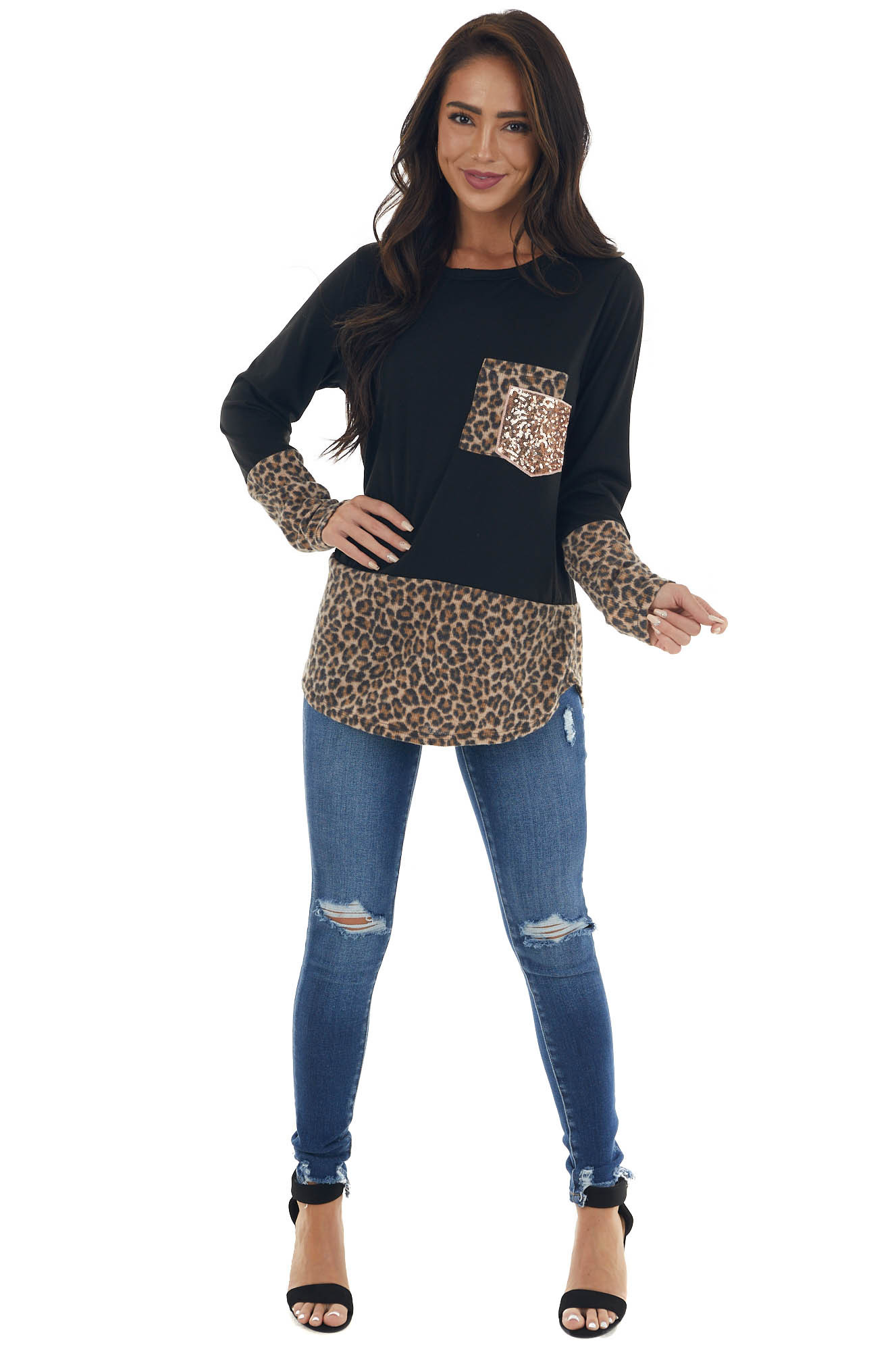 Black Long Sleeve Top with Leopard Print and Sequin Detail