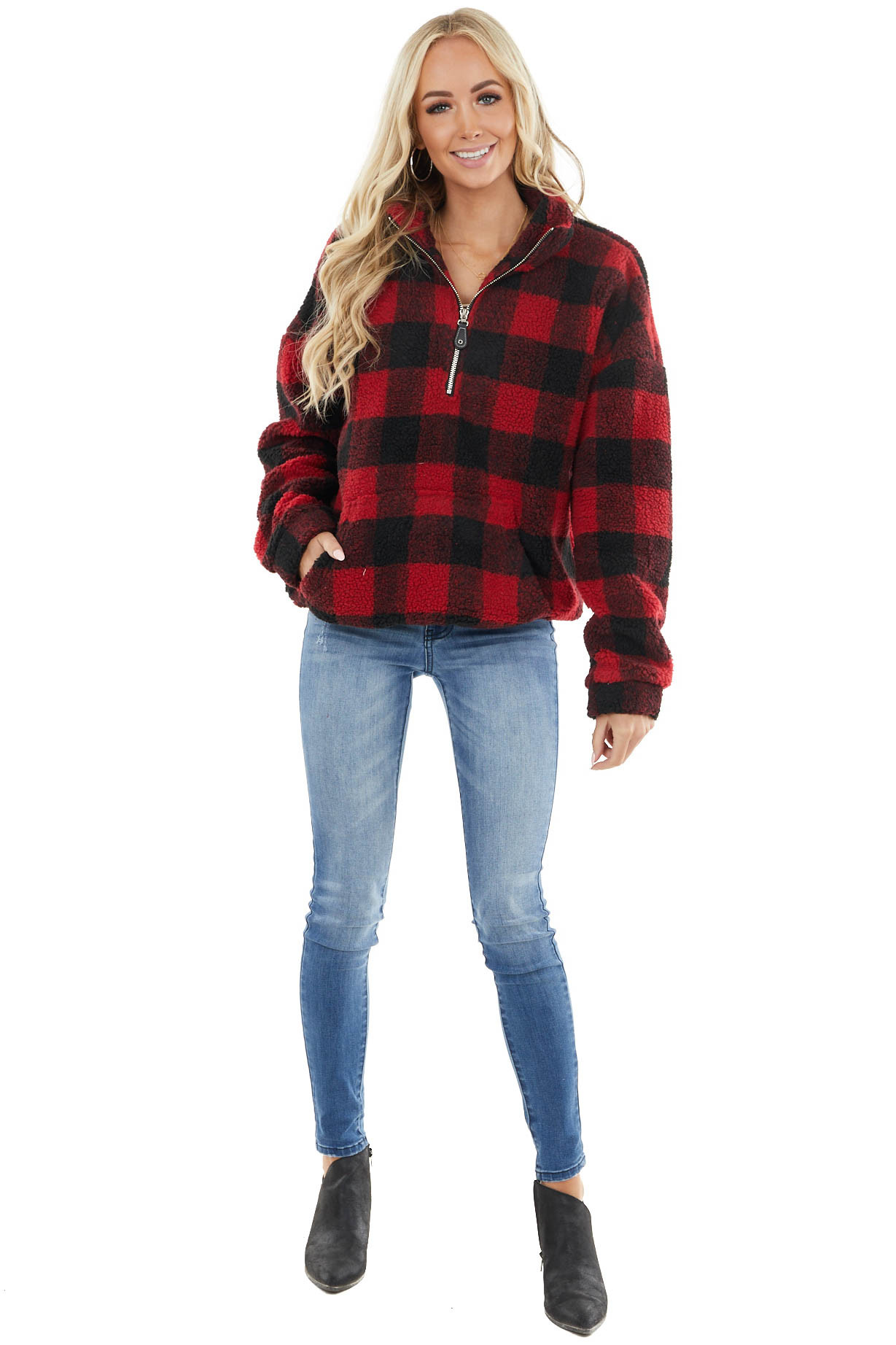 Ruby Red Buffalo Plaid Half Zip Jacket with Front Pocket