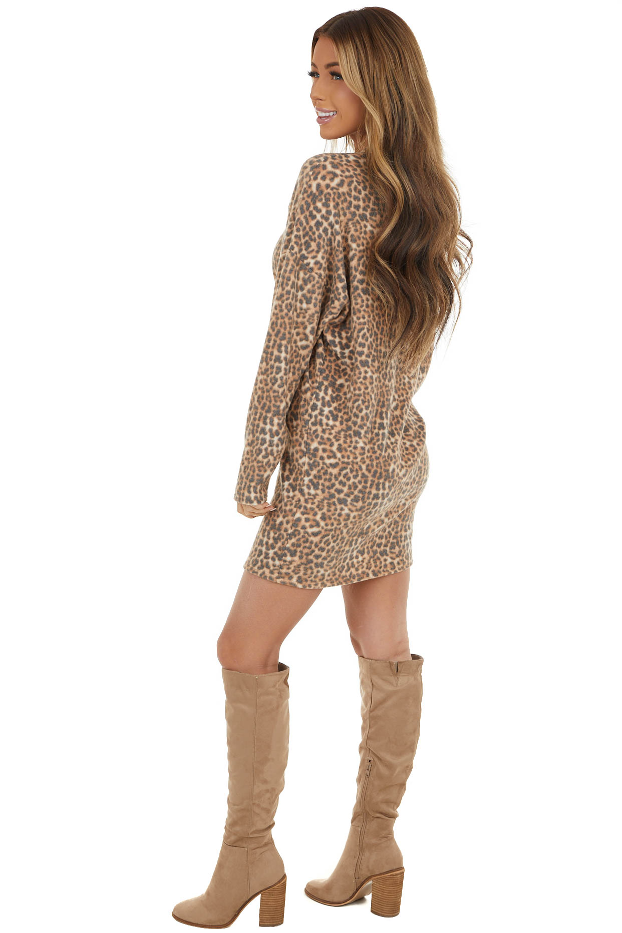 Beige Leopard Print Dress With High Neckline and Long Sleeves
