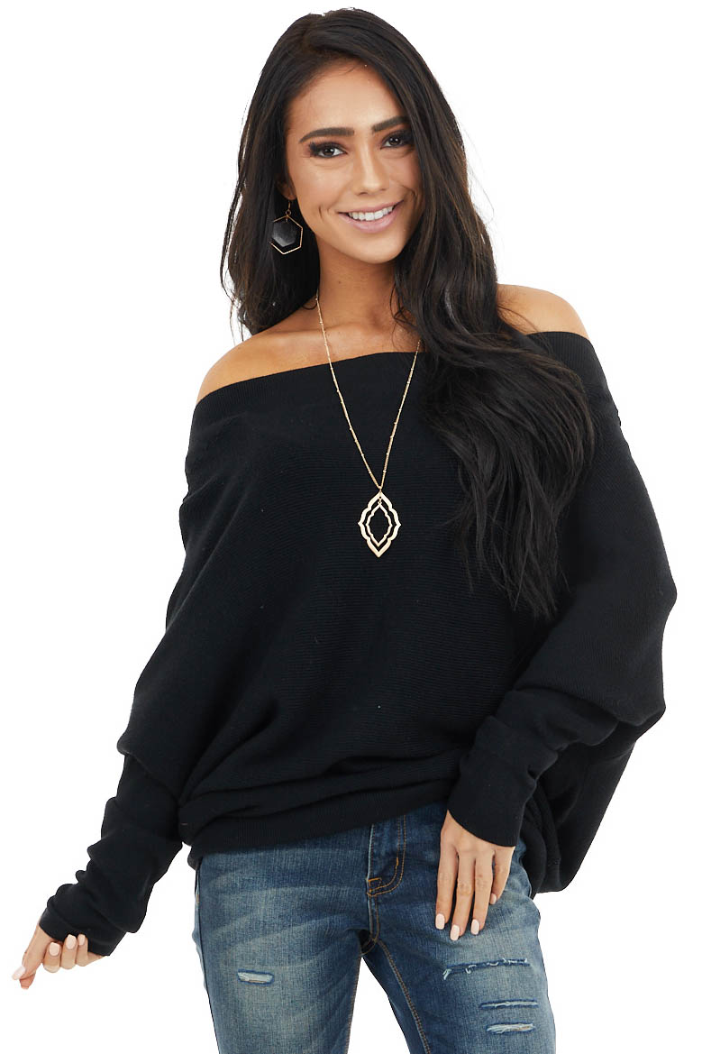 Black Off Shoulder Long Dolman Sleeve Knit Top