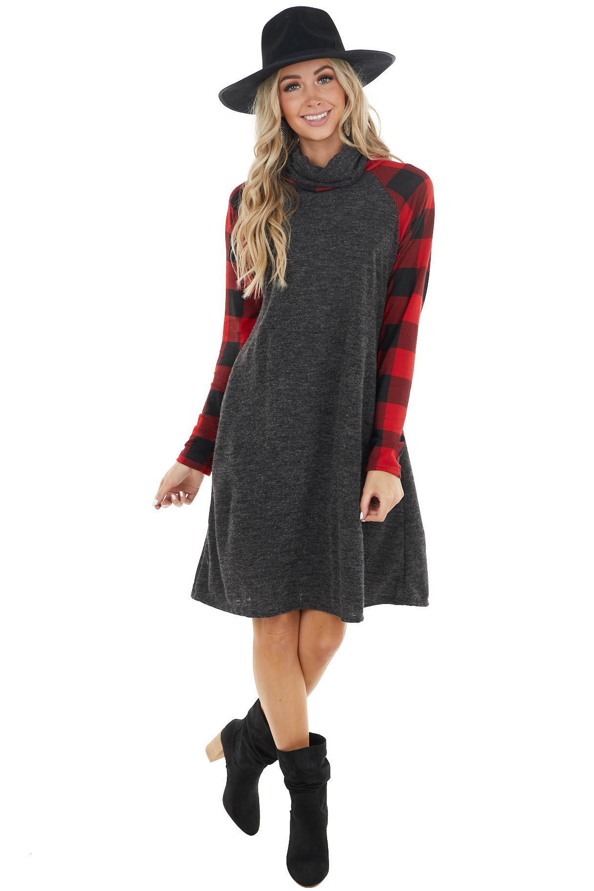 Charcoal Grey Turtleneck Dress with Buffalo Plaid Sleeves