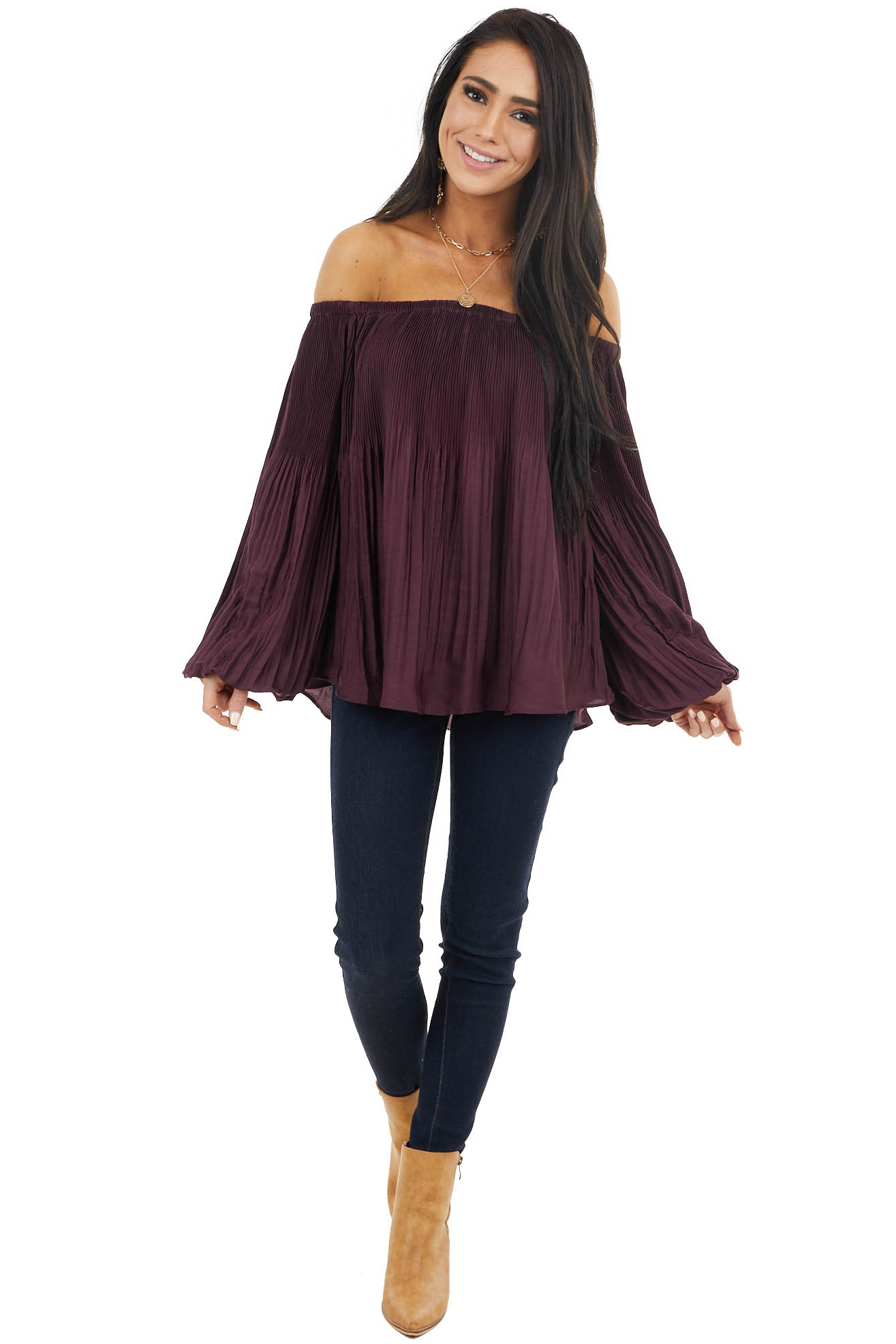 Eggplant Pleated Off the Shoulder Blouse with Bubble Sleeves