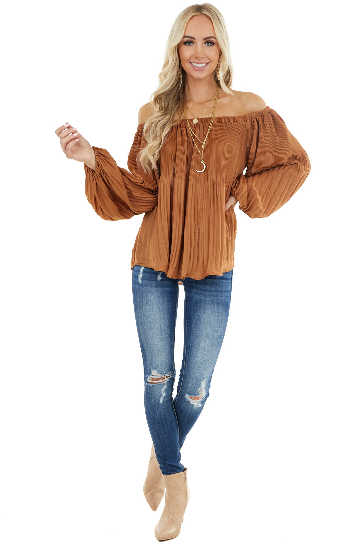Camel Pleated Off the Shoulder Blouse with Bubble Sleeves