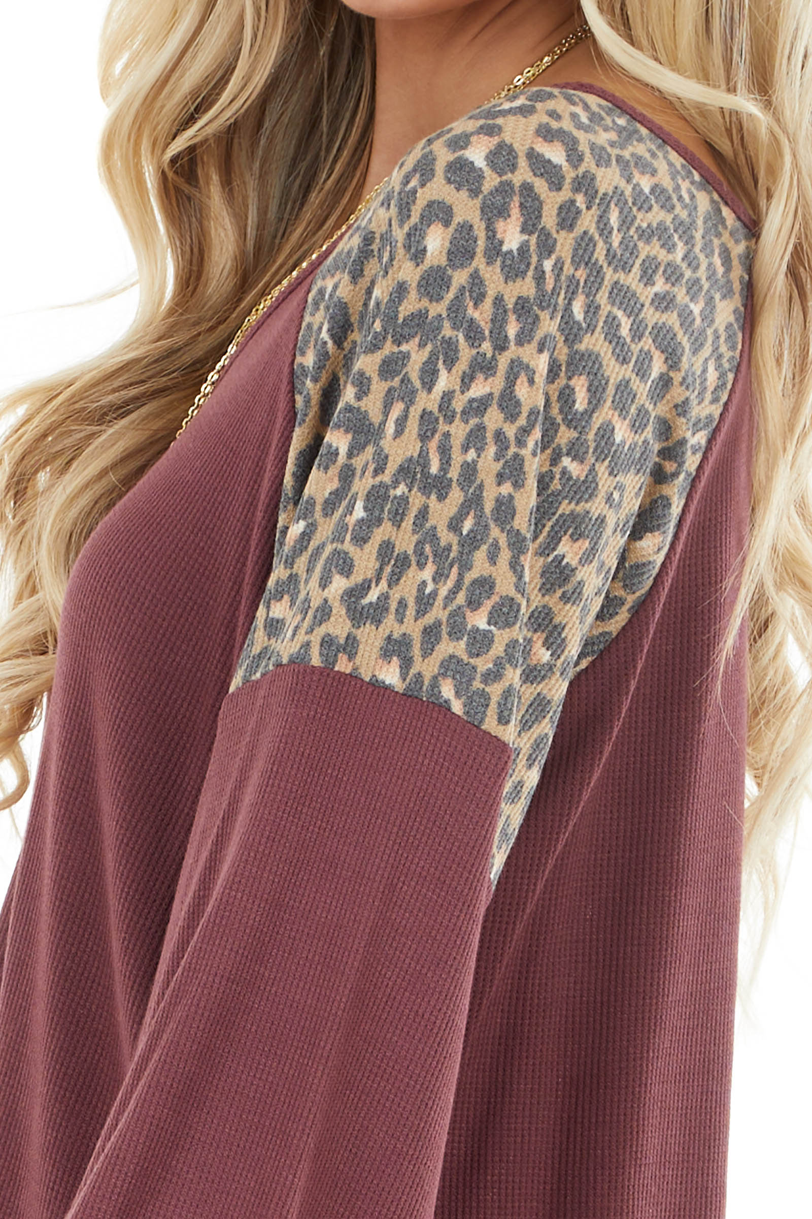 Wine and Khaki Leopard Print Waffle Knit Long Sleeve Top
