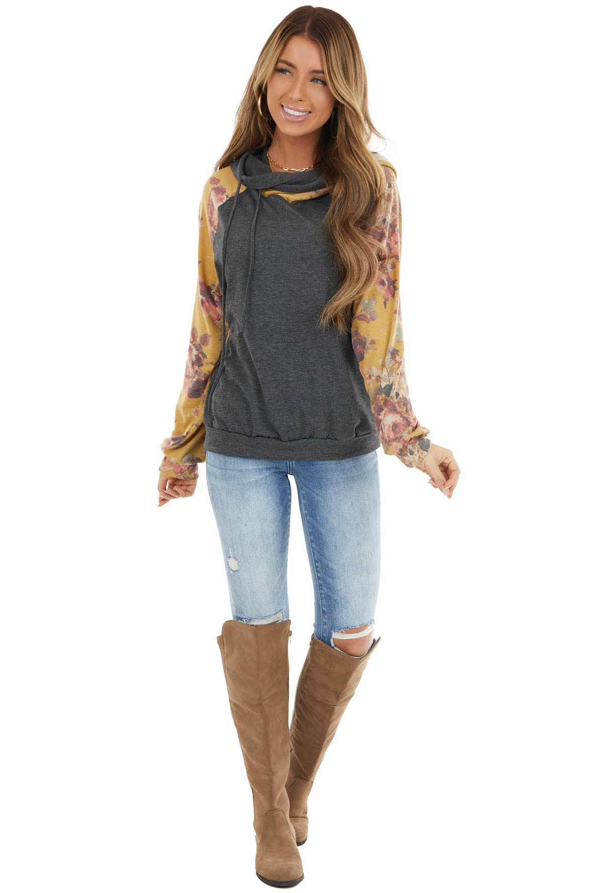 Charcoal and Amber Floral Print Hoodie with Drawstrings
