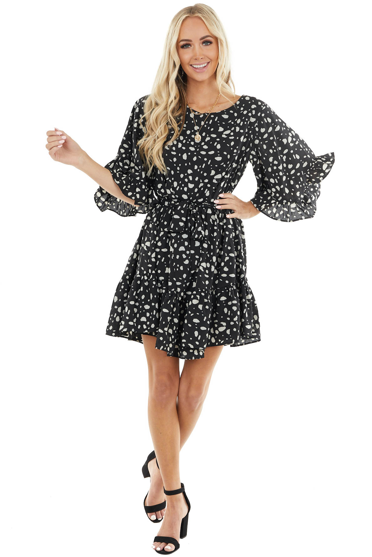 Black and Ivory Abstract Print 3/4 Sleeve Dress with Ruffles