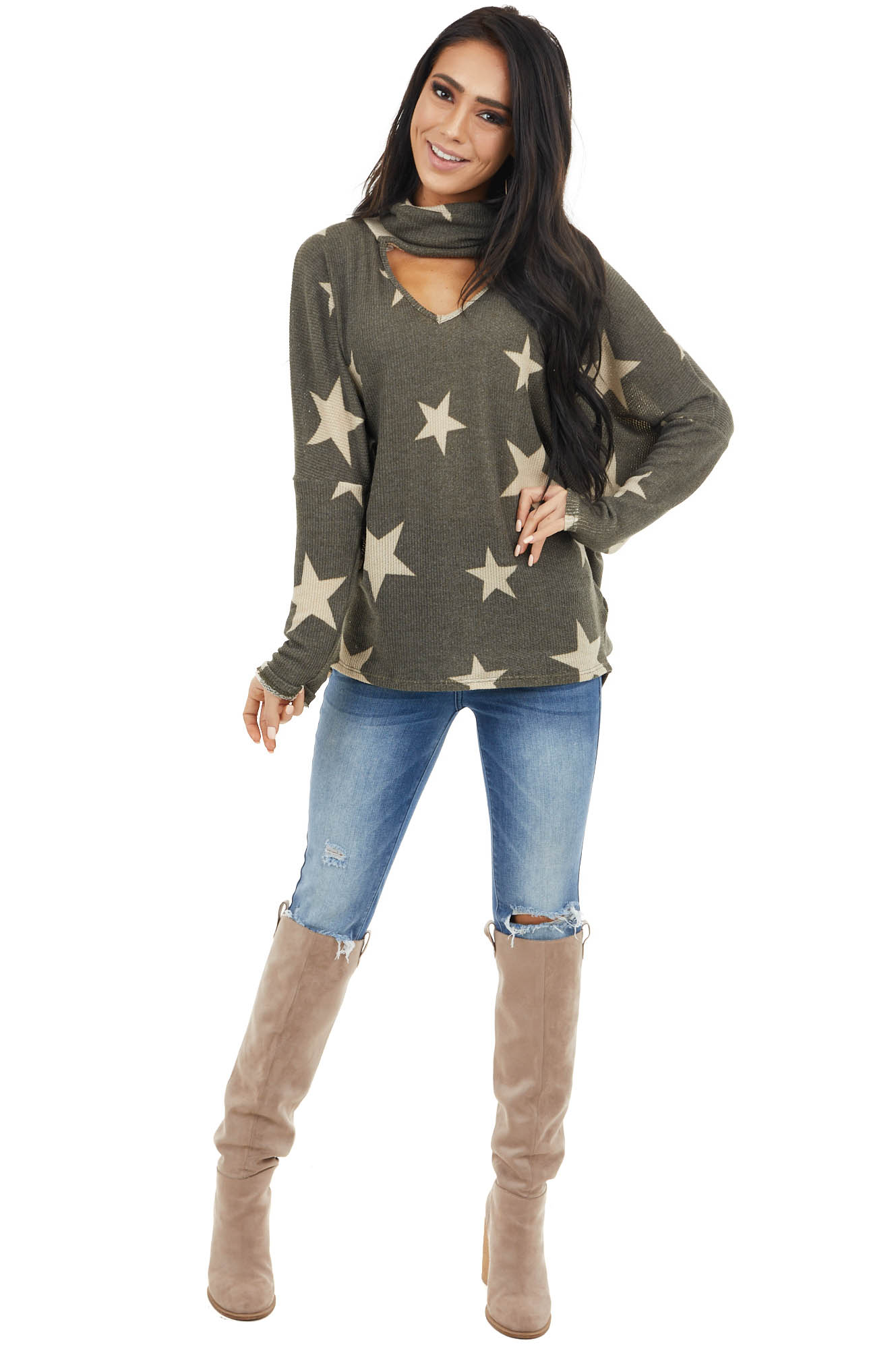 Charcoal Star Print Top with Cowl Neck and V Cutout Detail