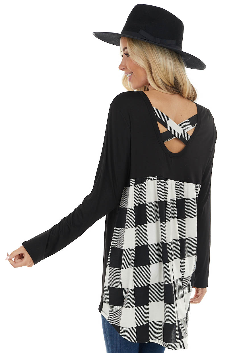 Black and White Plaid Back Top with Criss Cross Detail