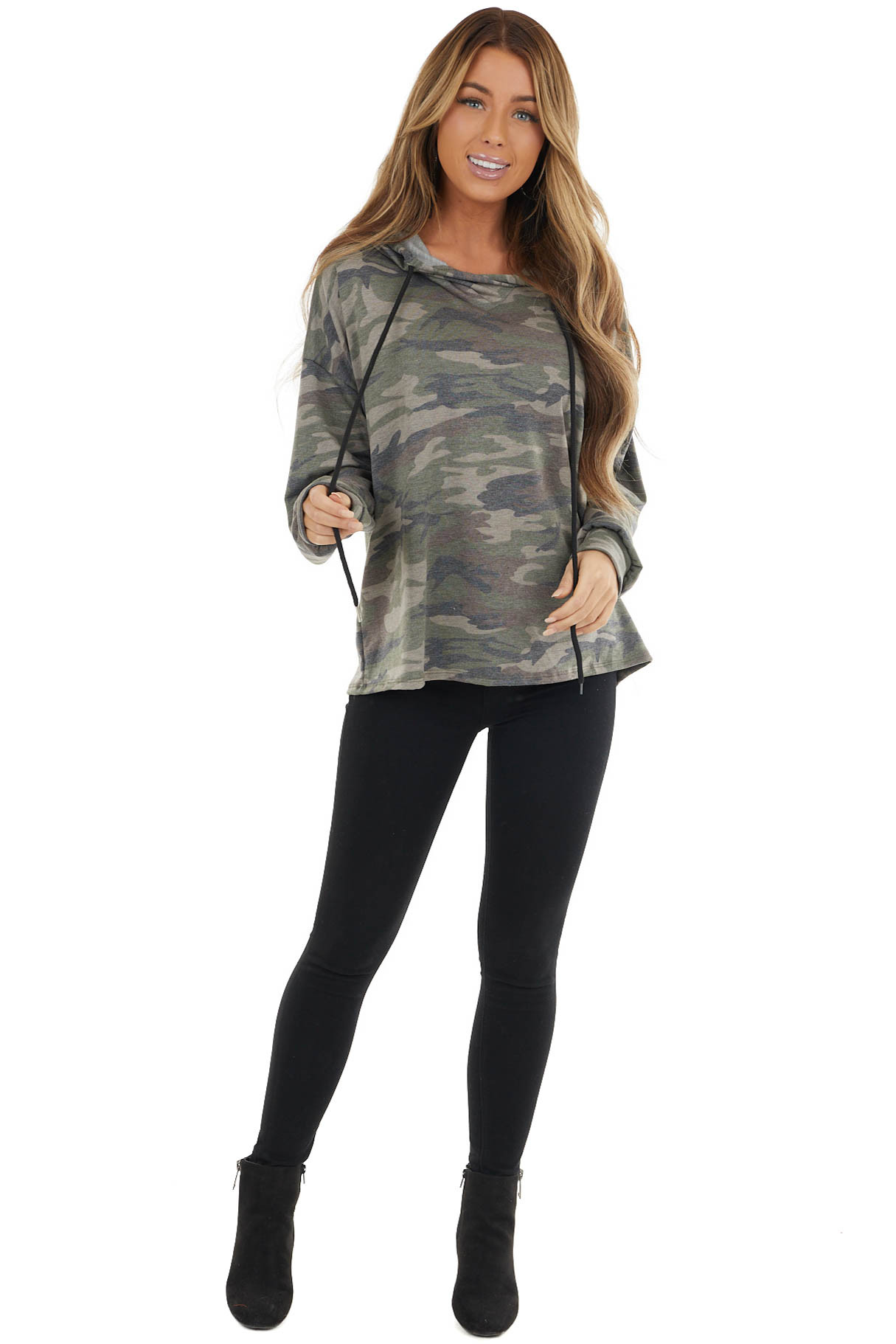 Forest Camo Soft Knit Long Sleeve Hoodie with Drawstrings