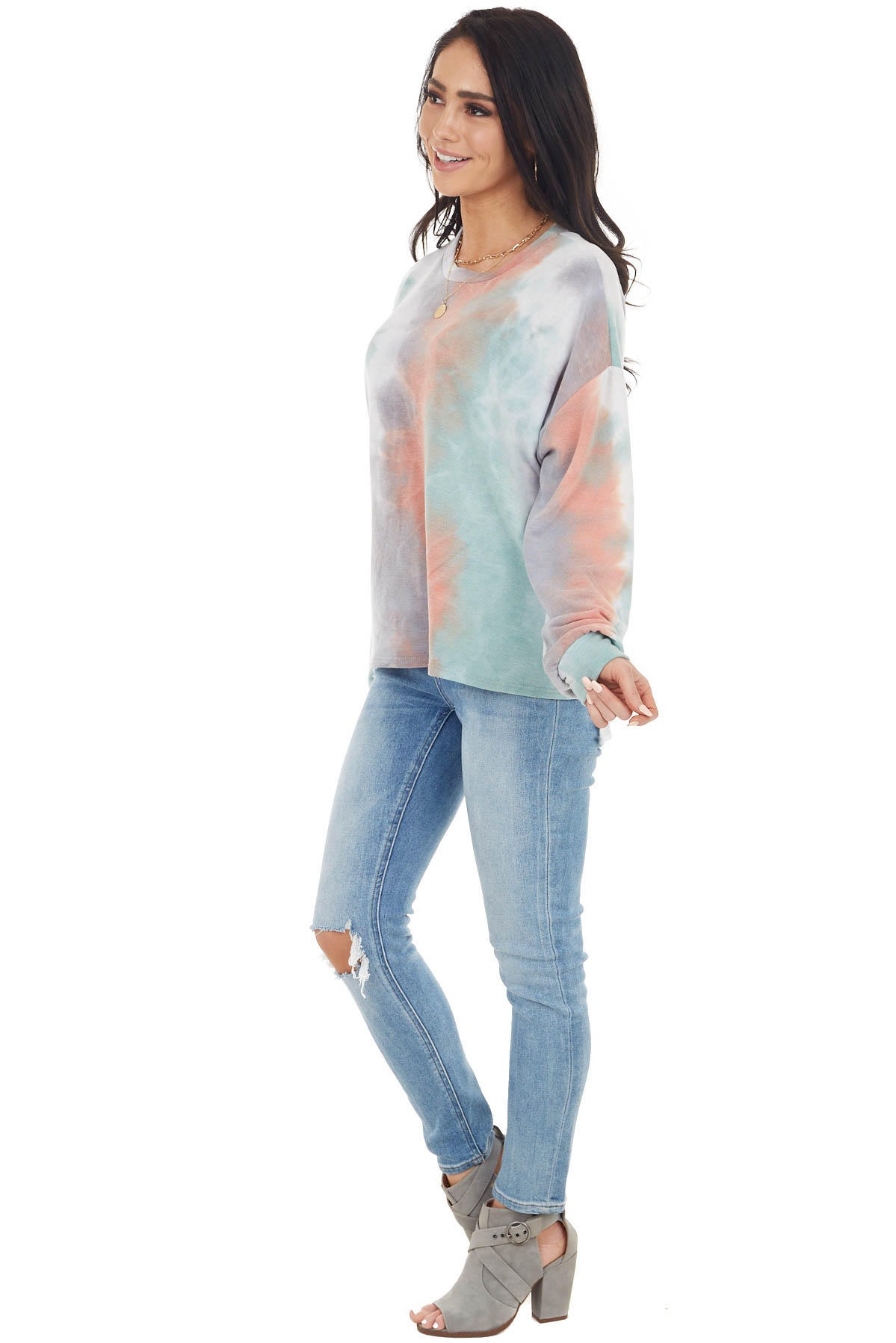 Multicolor Tie Dye Long Sleeve Top with Long Bubble Sleeves