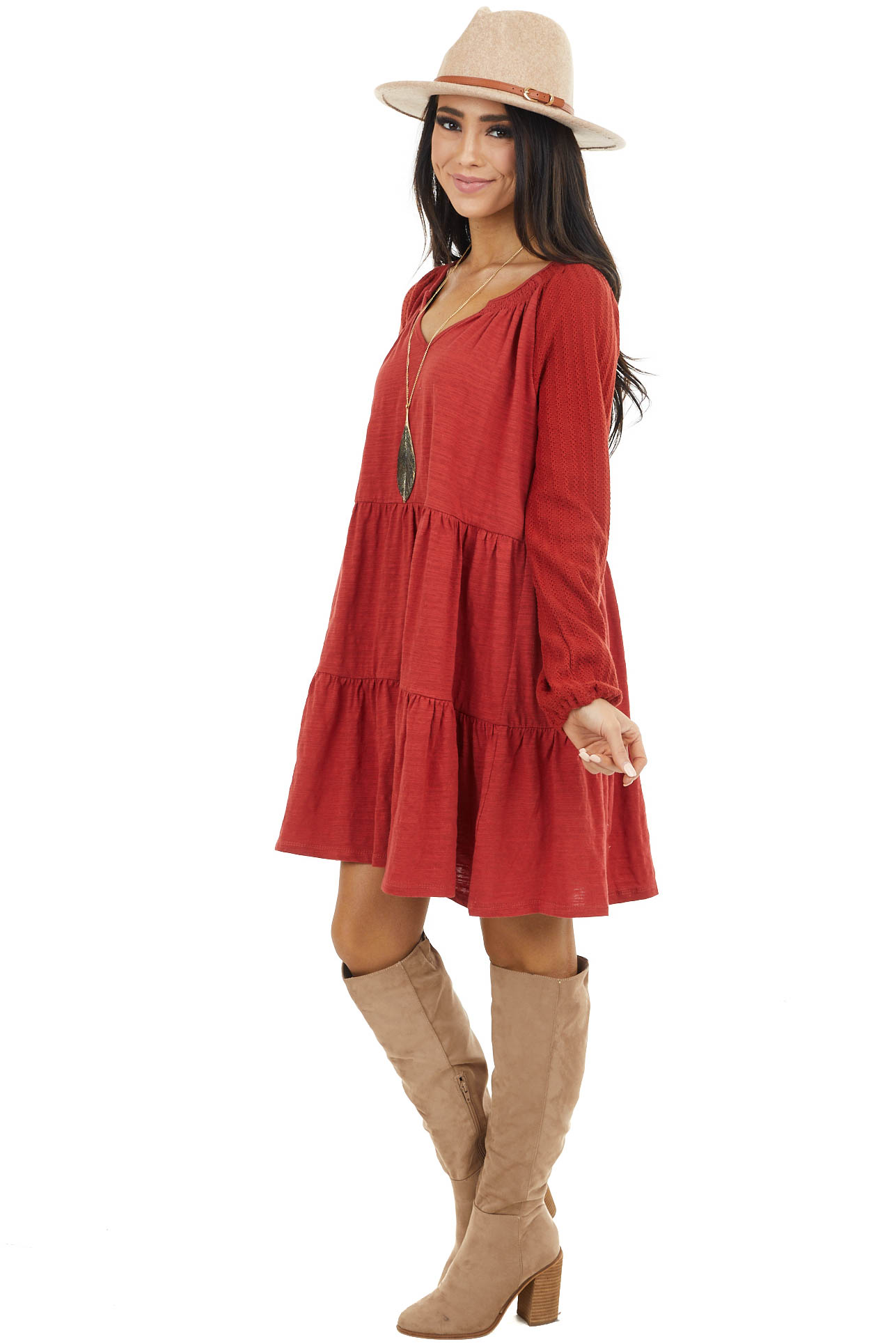 Brick Red Tiered Dress with Crochet Sleeves and V Neckline