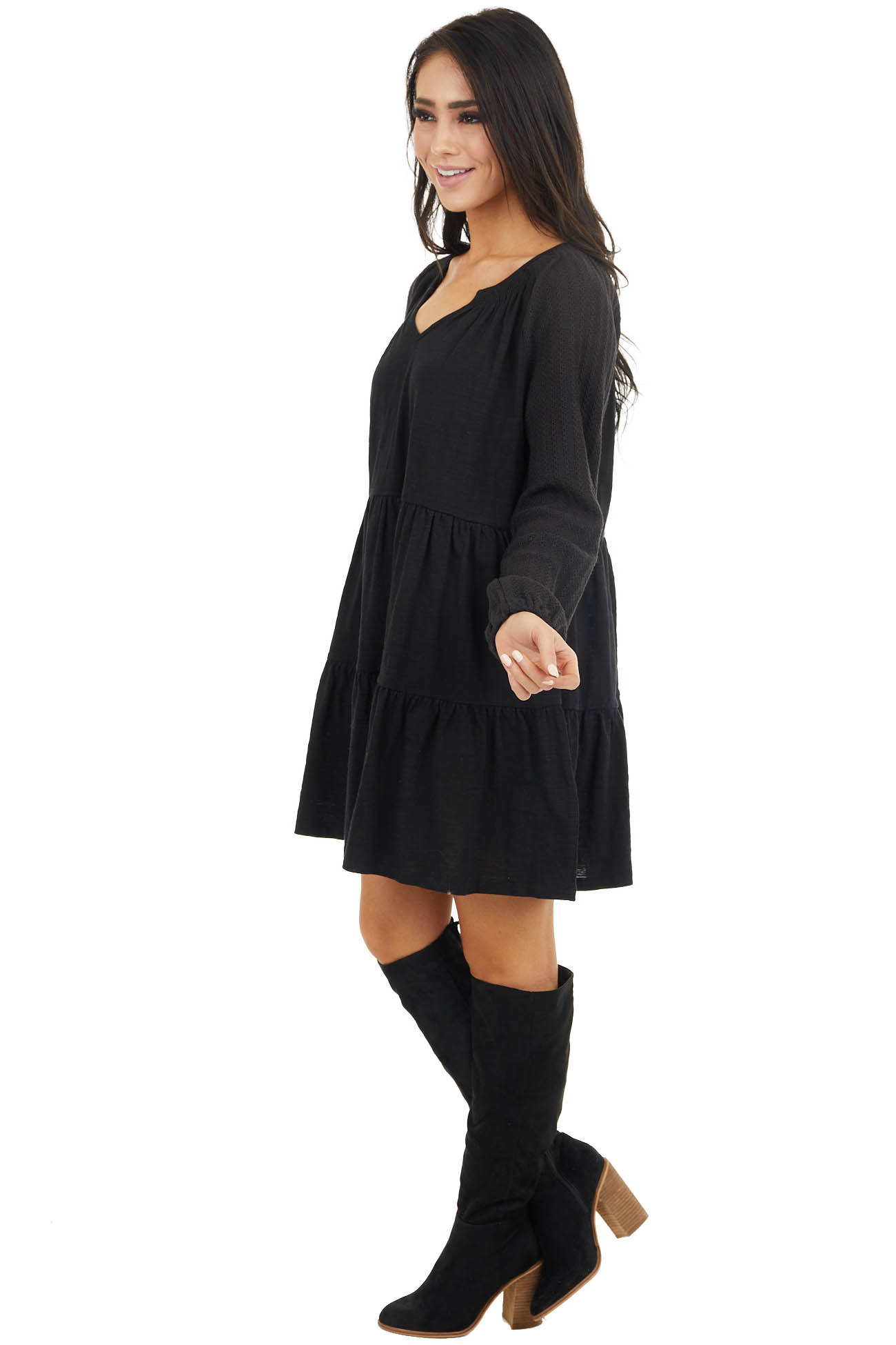 Black Tiered Mini Dress with Crochet Sleeves and V Neckline
