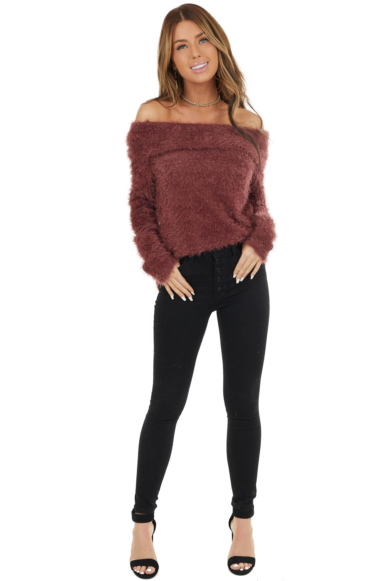 Mahogany Fuzzy Knit Long Sleeve Off the Shoulder Sweater