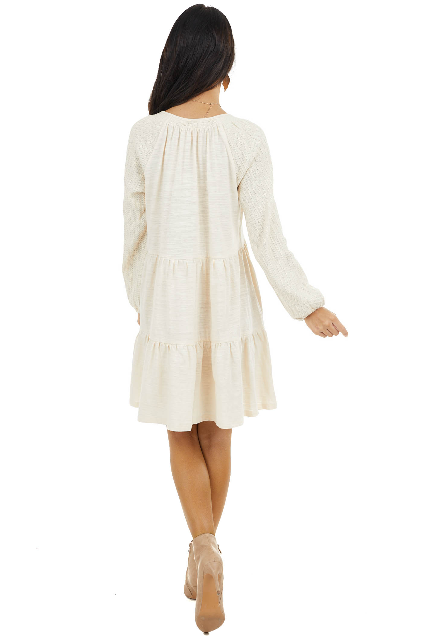 Cream Tiered Mini Dress with Crochet Sleeves and V Neckline