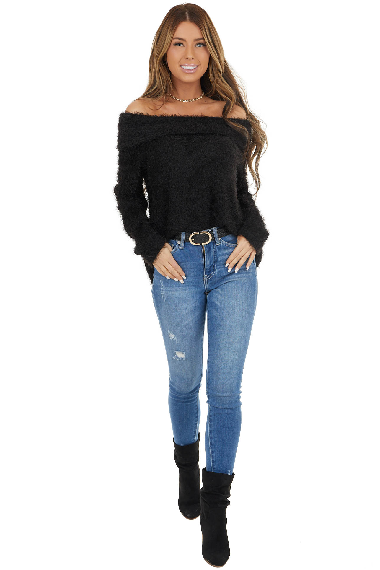 Black Fuzzy Knit Long Sleeve Off the Shoulder Sweater