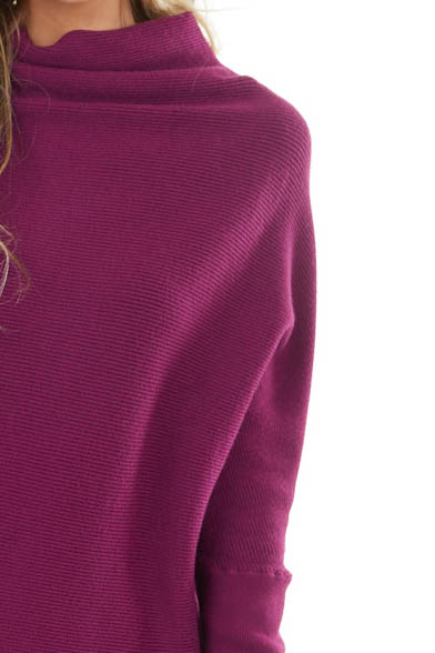 Plum High Neck Pullover Sweater with Long Dolman Sleeves