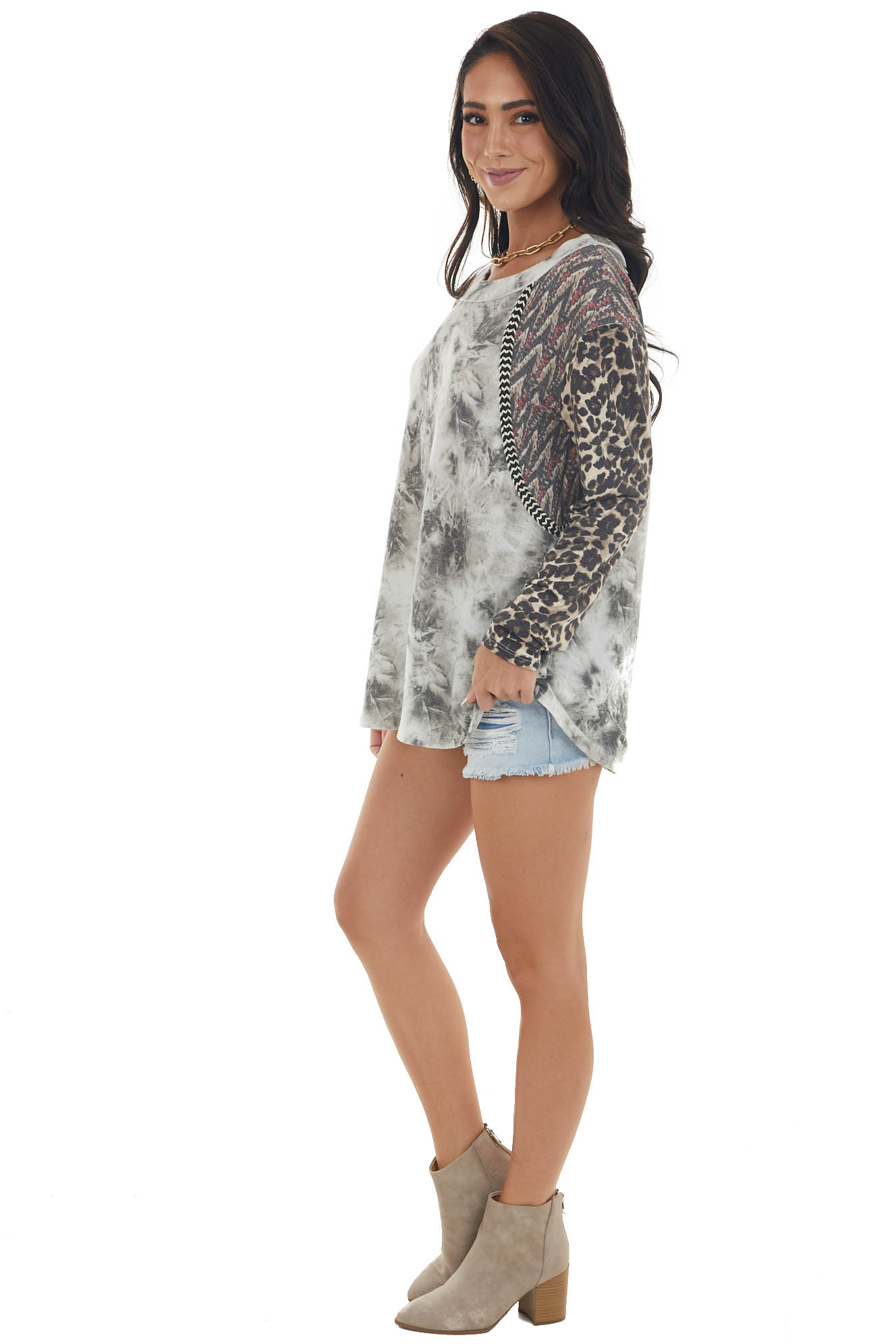Ivory and Charcoal Tie Dye Top with Multiprint Long Sleeves
