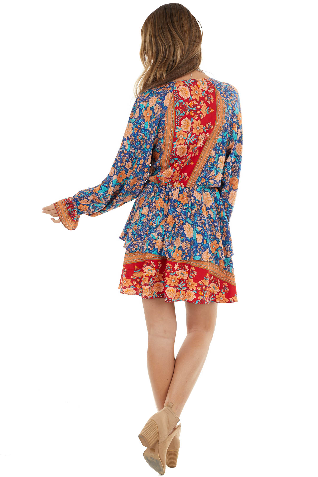 Royal Blue and Cherry Floral Print Surplice Ruffle Dress